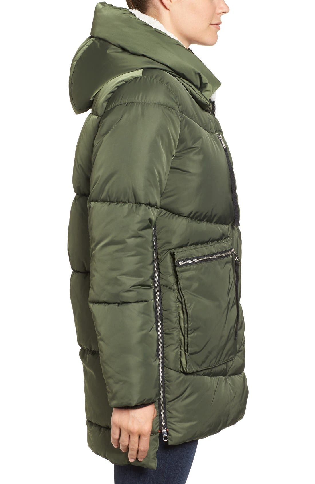 Hooded Puffer Jacket with Faux Shearling Trim,                             Alternate thumbnail 13, color,