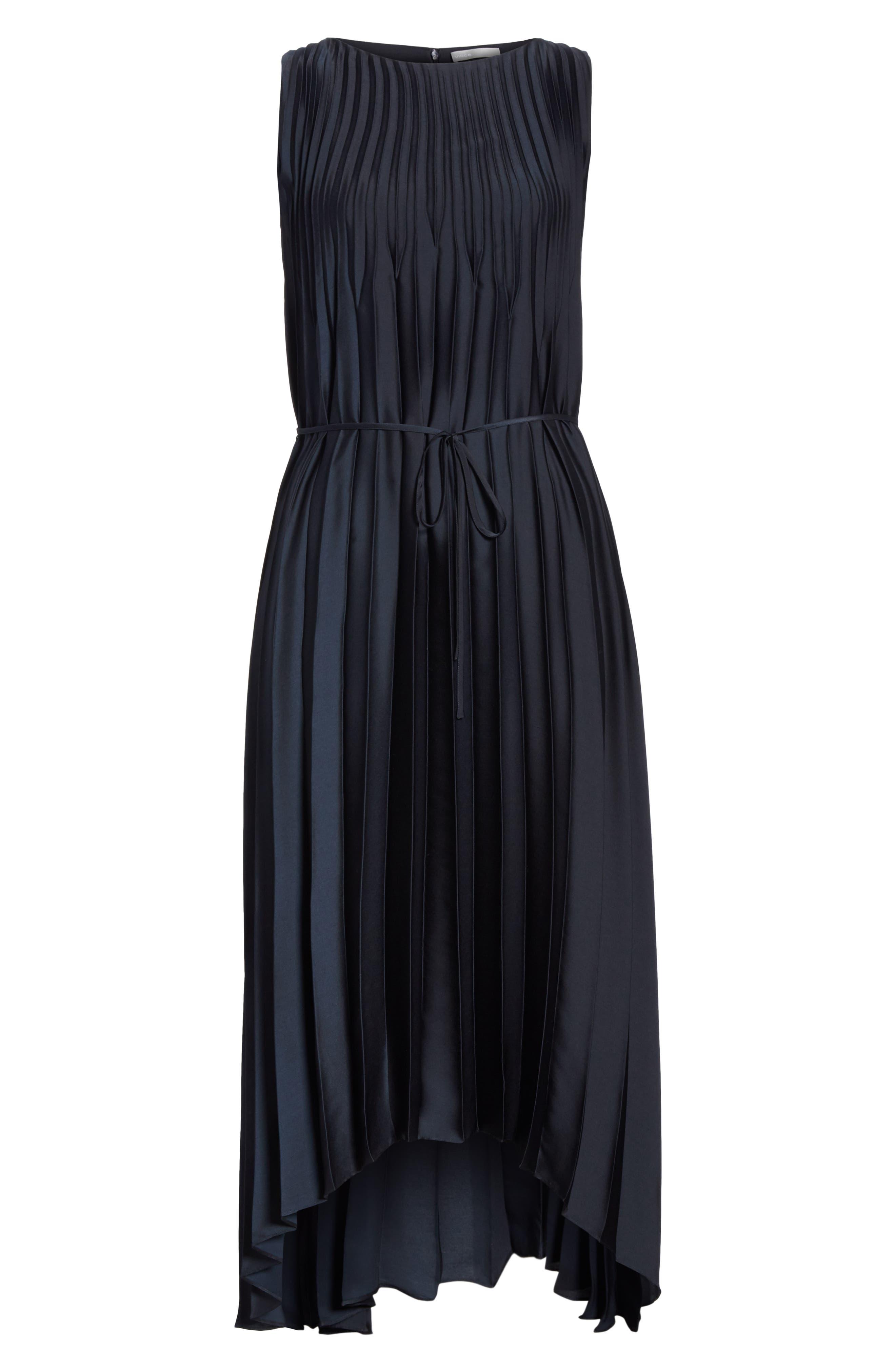 Chevron Pleat Midi Dress,                             Alternate thumbnail 6, color,                             COASTAL