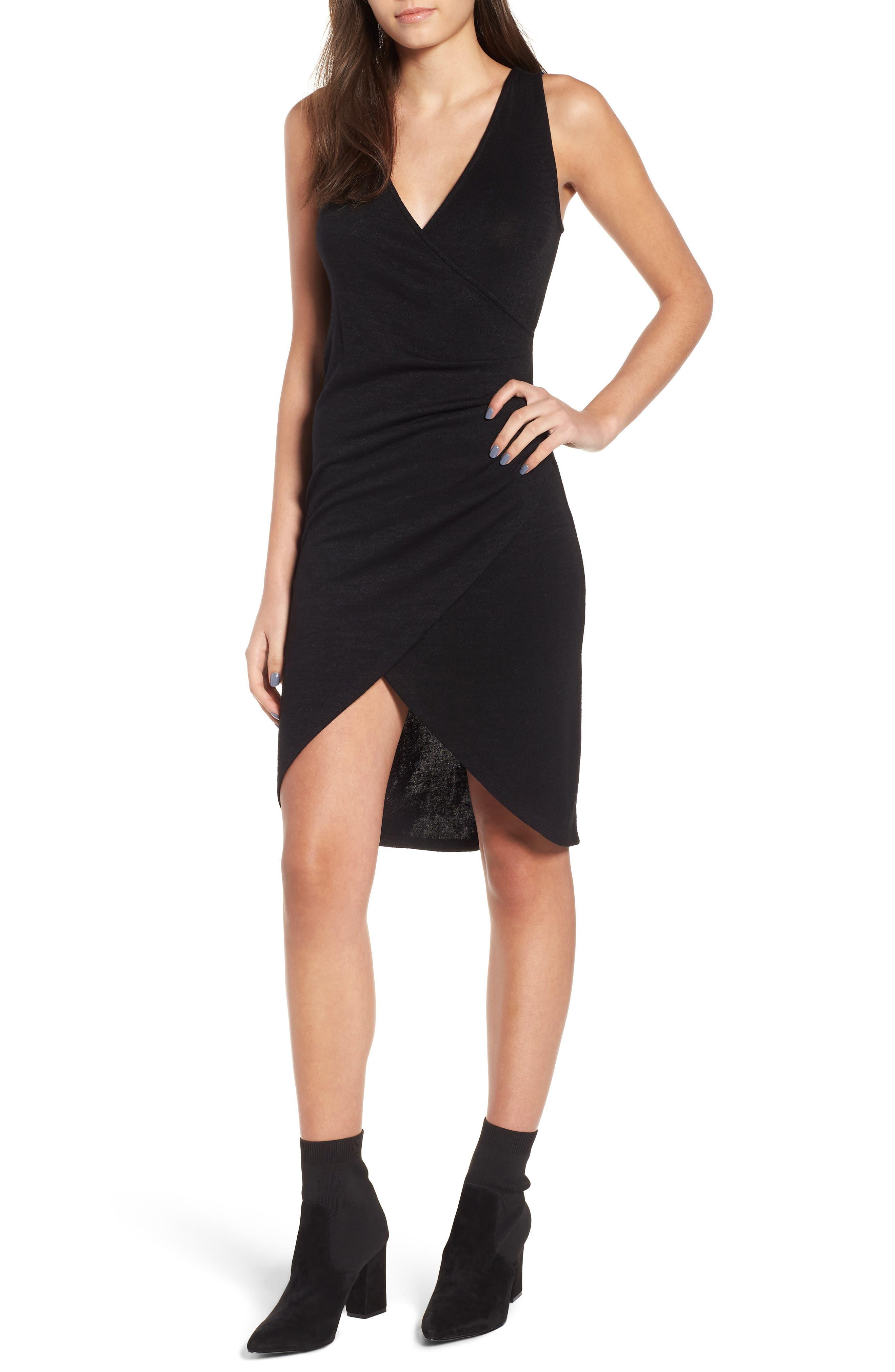 Leith Melange Wrap Dress, Black
