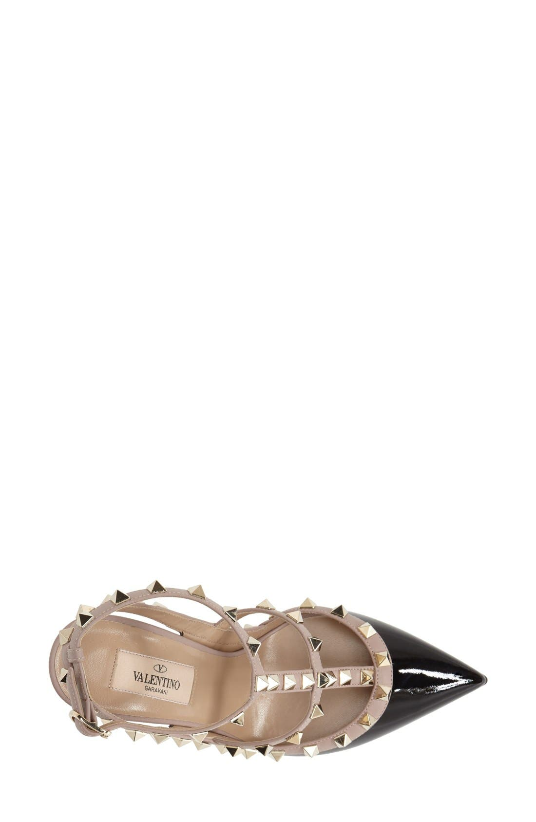 Rockstud T-Strap Pump,                             Alternate thumbnail 2, color,                             BLACK/ BLUSH PATENT