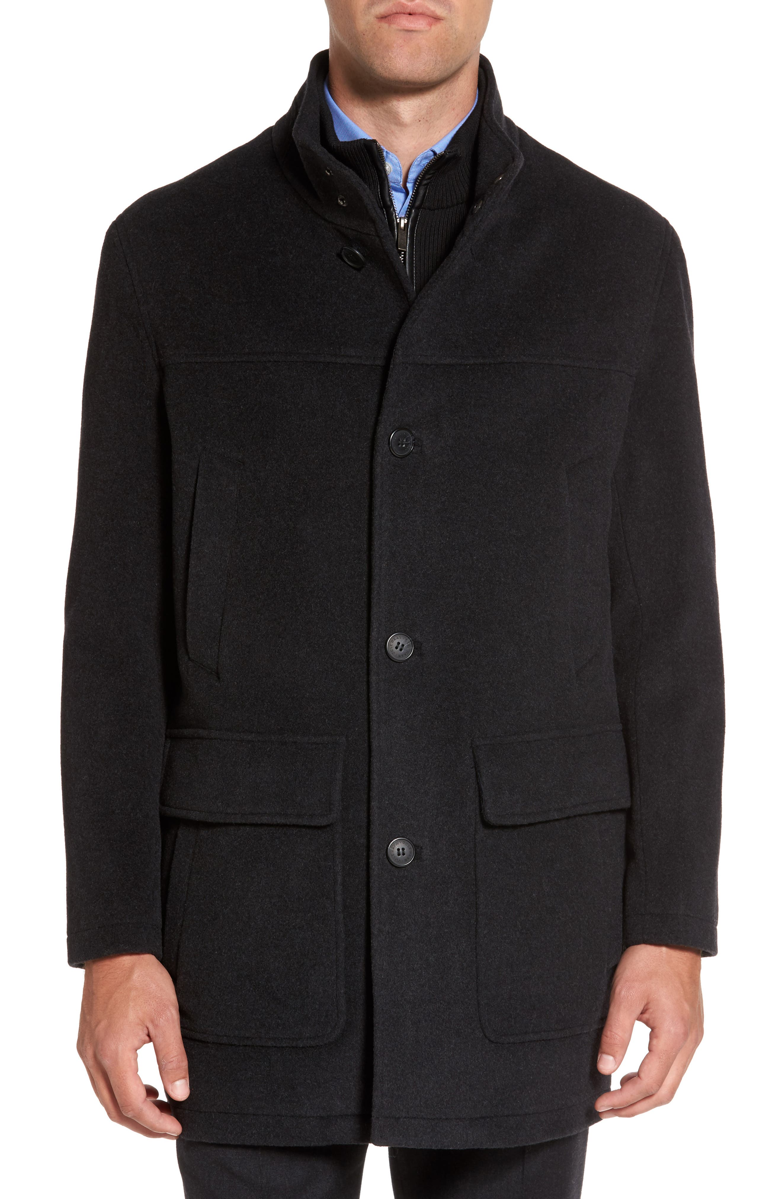 Wool Blend Topcoat with Inset Bib,                             Main thumbnail 3, color,