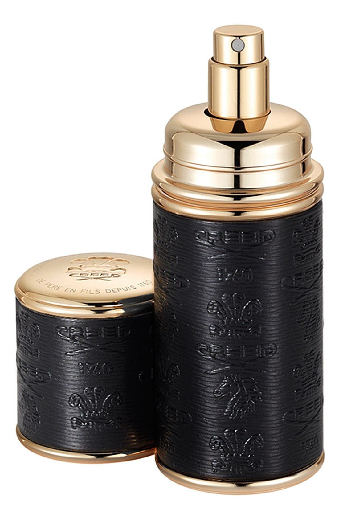 Black with Gold Trim Leather Atomizer,                             Main thumbnail 1, color,                             NO COLOR