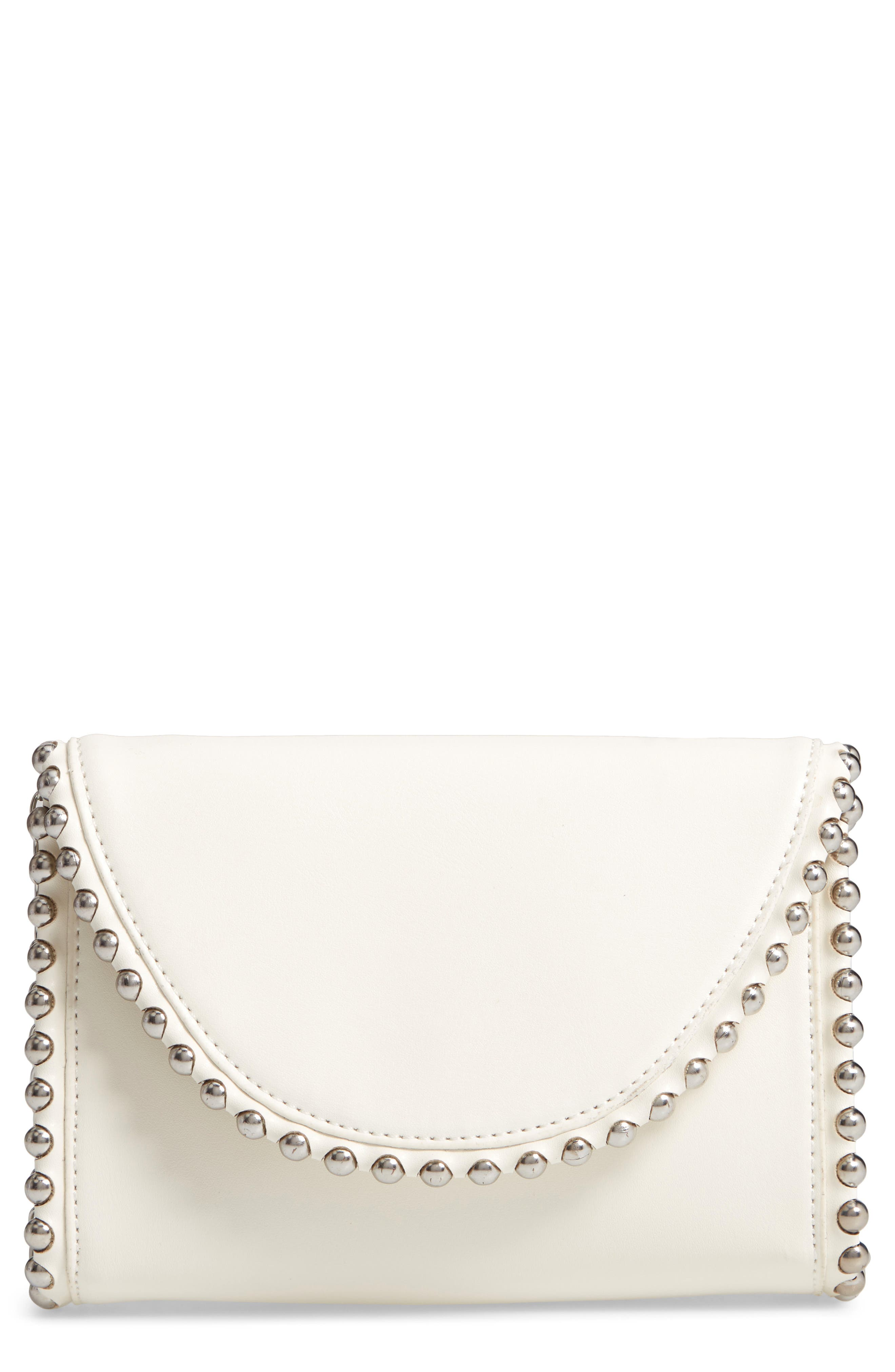 Stud Edge Faux Leather Crossbody Bag,                             Main thumbnail 1, color,                             IVORY