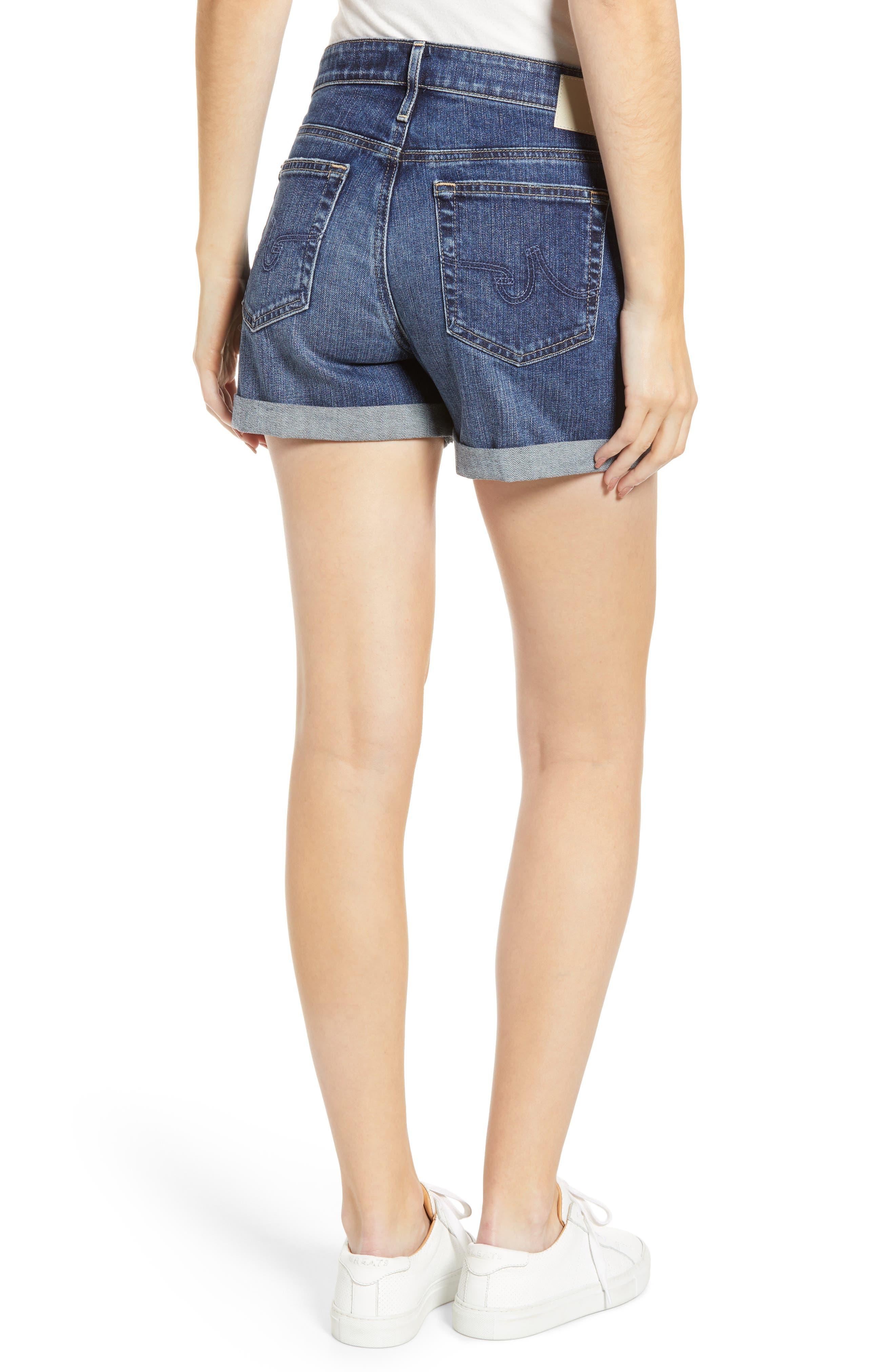 Hailey High Waist Cuff Denim Shorts,                             Alternate thumbnail 2, color,                             18 YEAR INDIGO CITY