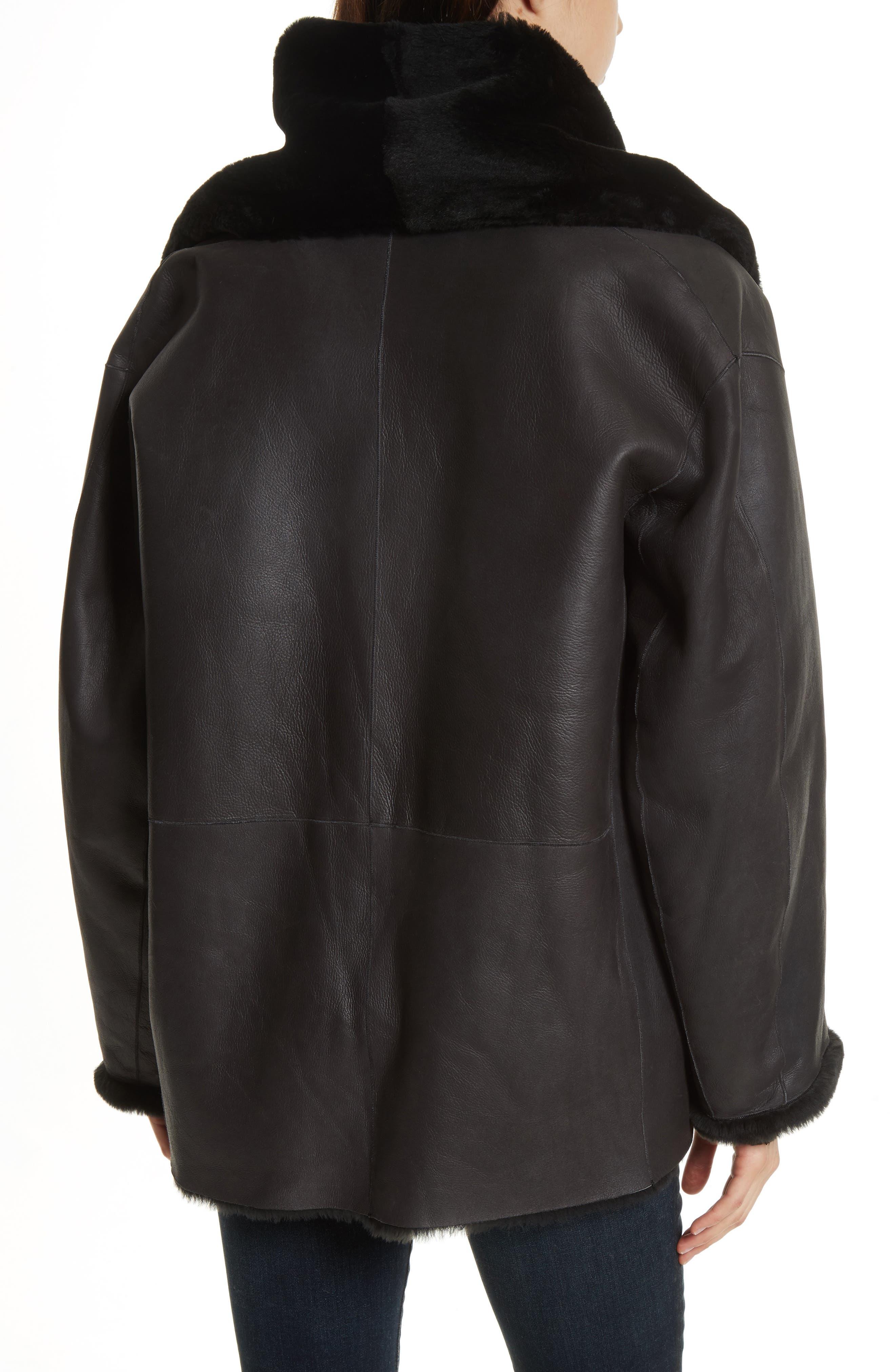Shawl Collar Genuine Shearling Reversible Coat,                             Alternate thumbnail 2, color,                             012