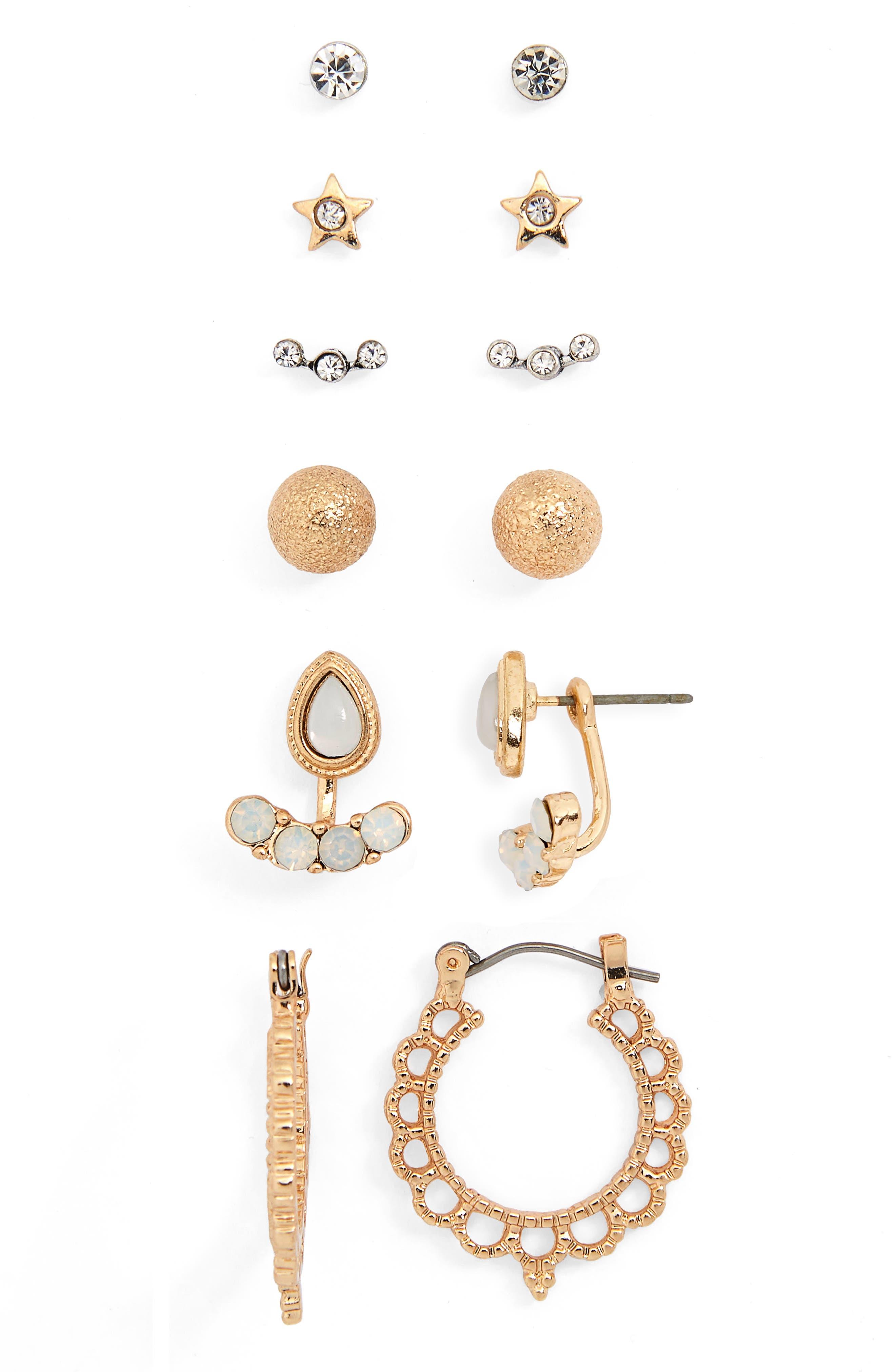 6-Pack Crystal Cluster Earrings,                         Main,                         color, 710