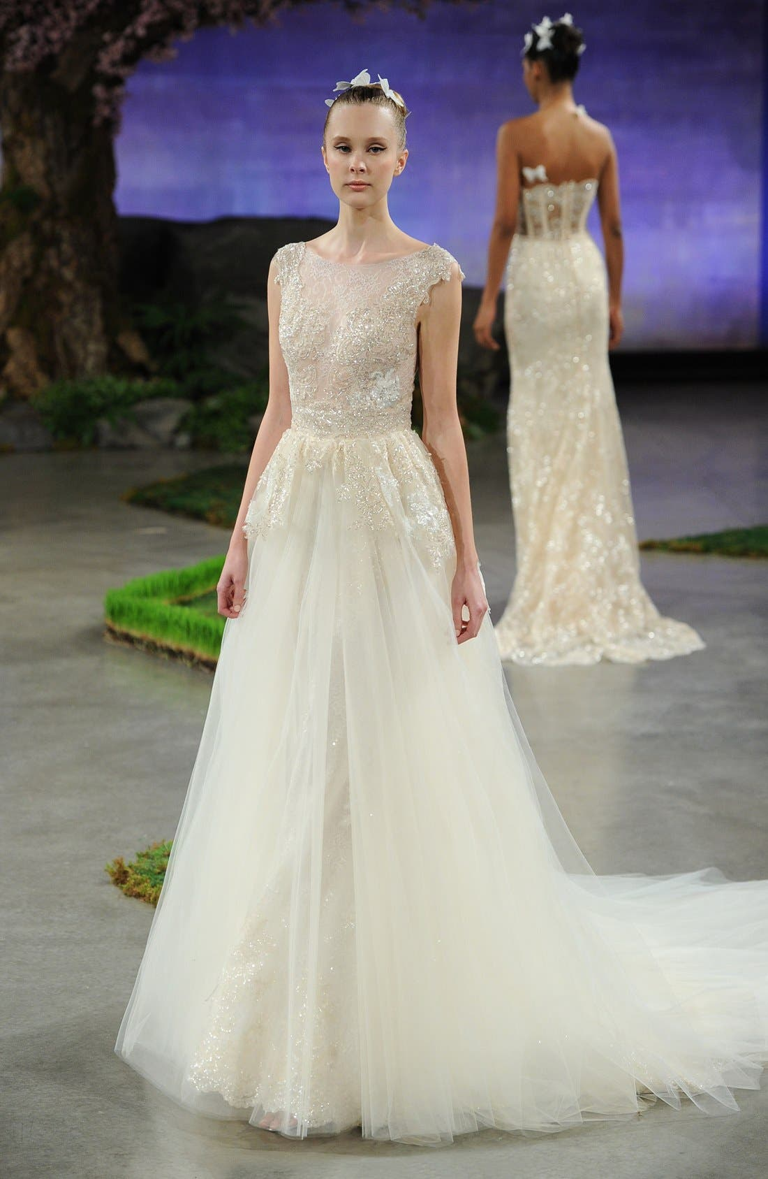 Alonda Embellished Lace Appliqué Trumpet Gown with Detachable Tulle Overskirt,                             Alternate thumbnail 5, color,                             900