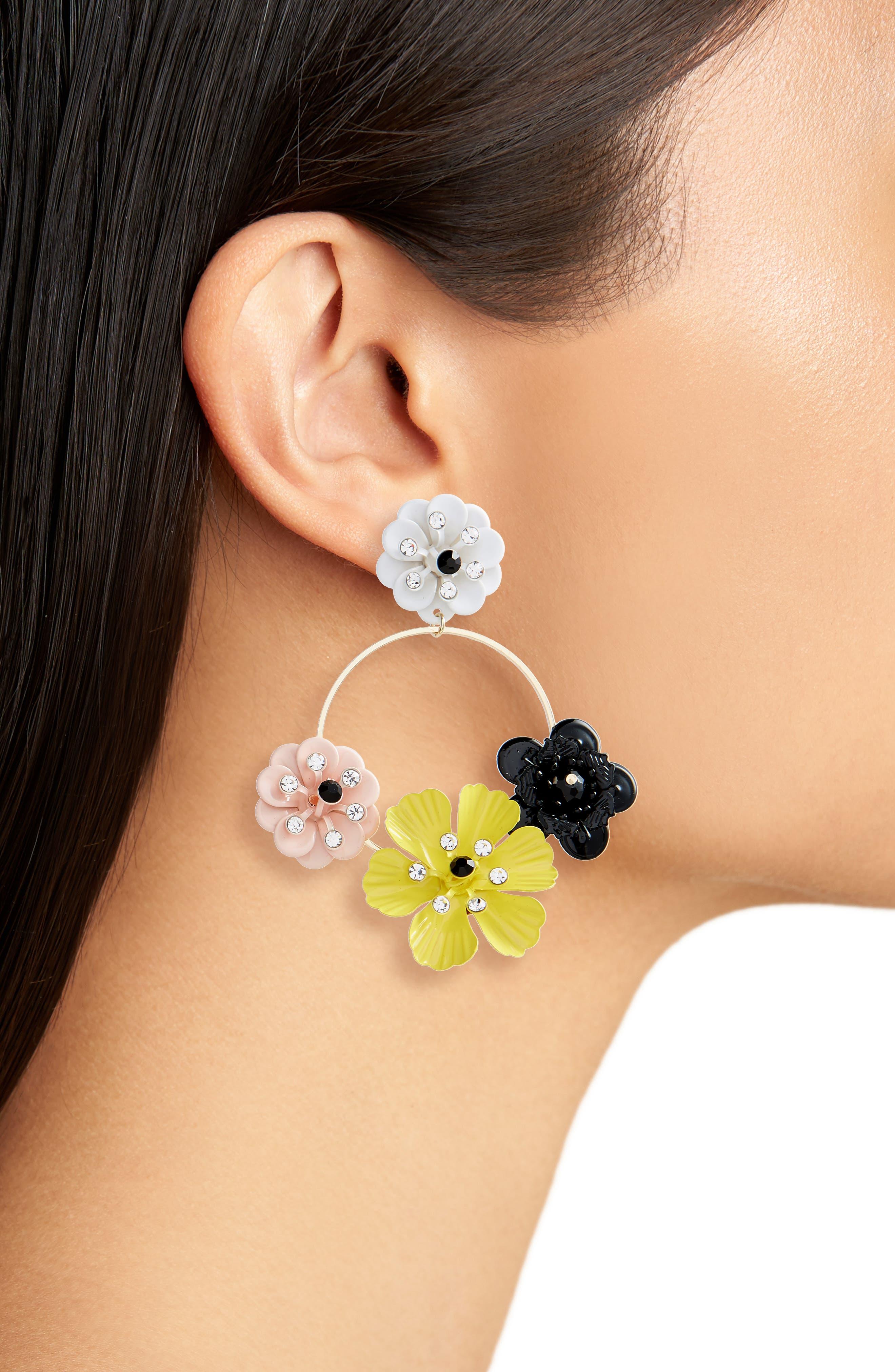 Flower Circle Drop Earrings,                             Alternate thumbnail 2, color,                             750