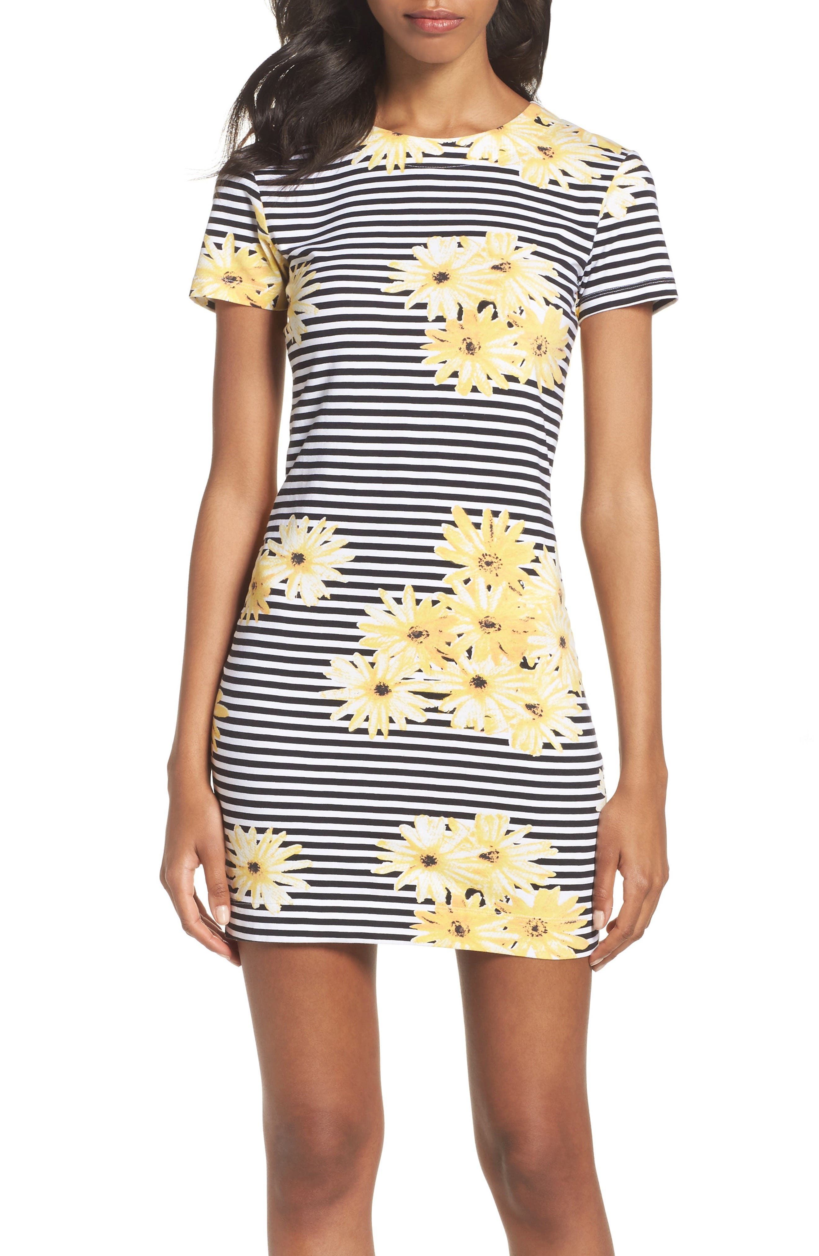 Sunflower Stripe Sheath Dress,                             Main thumbnail 1, color,                             007