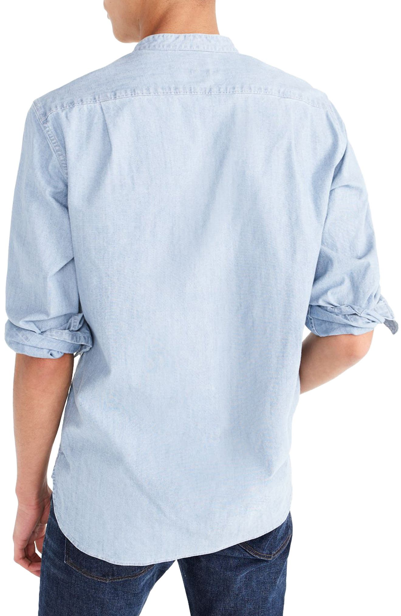 Stretch Chambray Band Collar Shirt,                             Alternate thumbnail 2, color,                             400