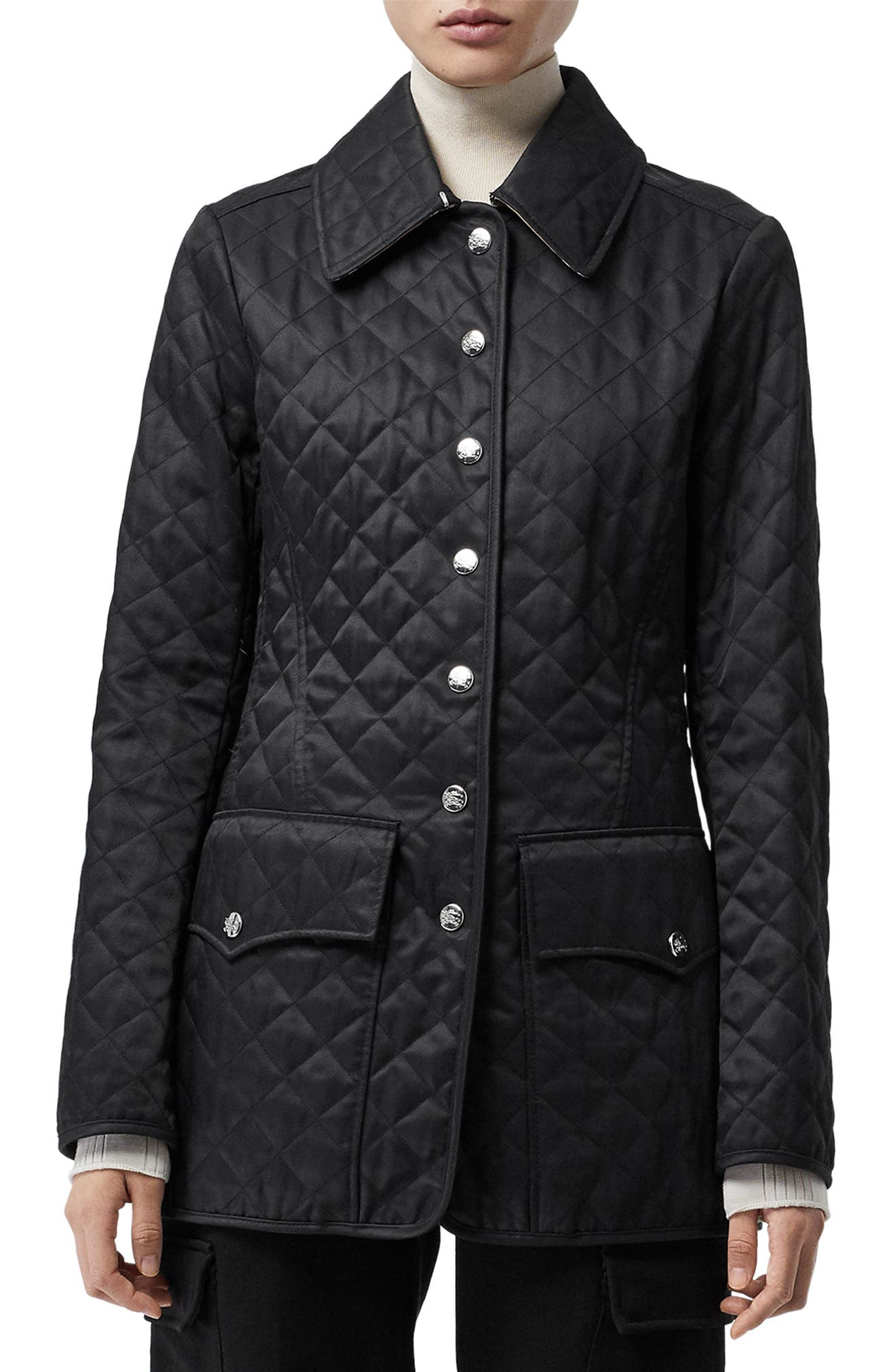 BURBERRY,                             Borthwicke Quilted Jacket,                             Main thumbnail 1, color,                             BLACK