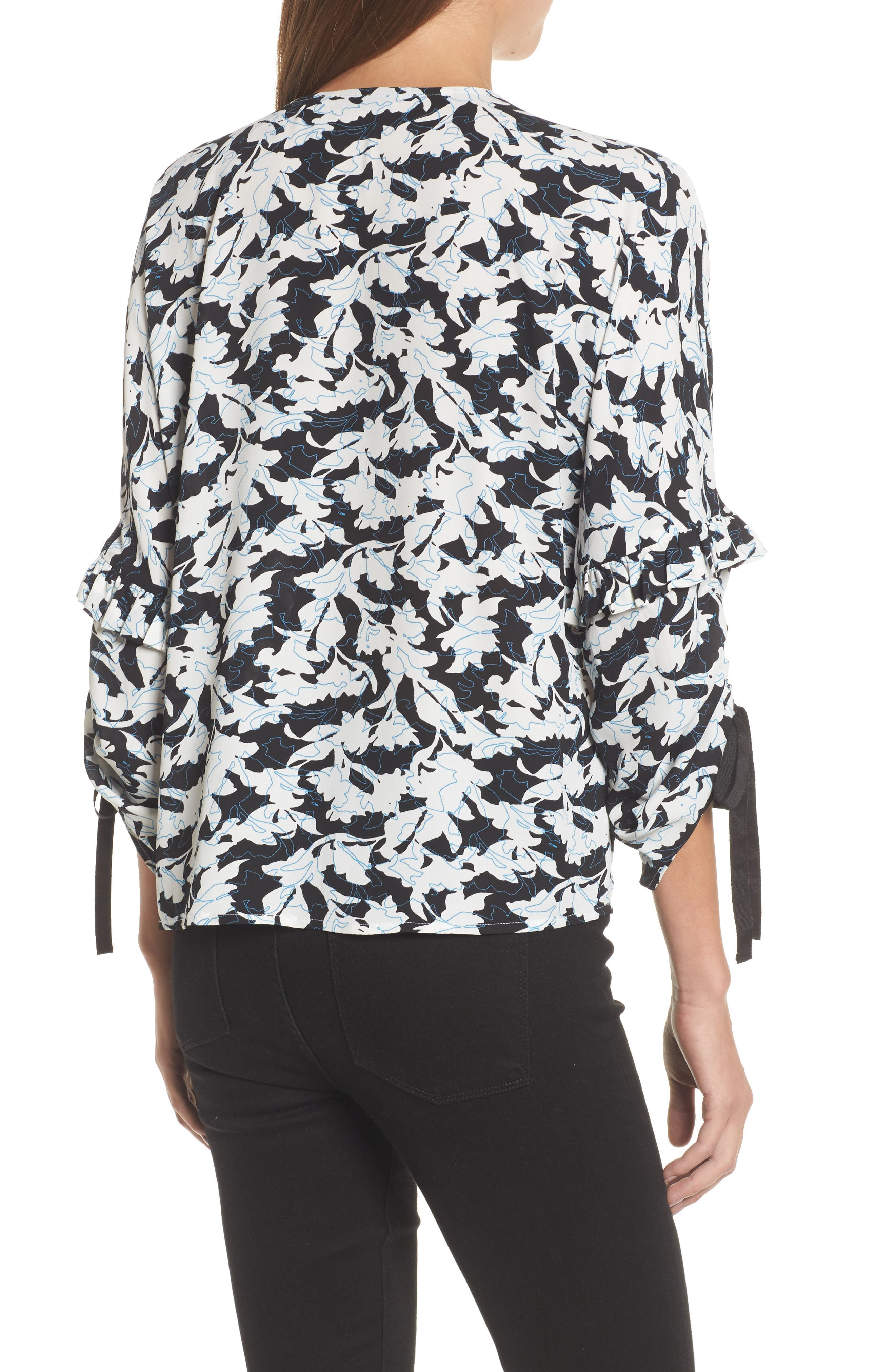 Ruched Tie Sleeve Top,                             Alternate thumbnail 2, color,                             001