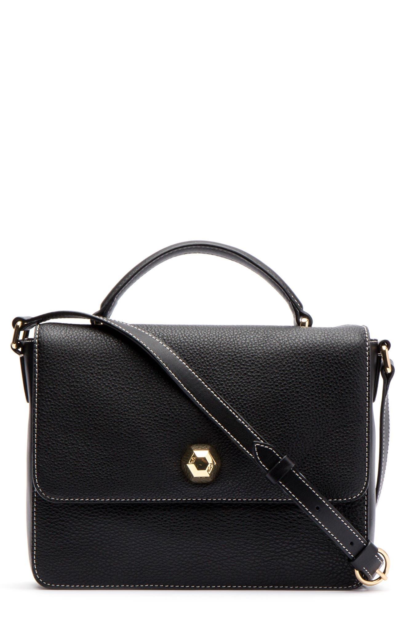 Midge Leather Crossbody Bag,                             Main thumbnail 1, color,                             001