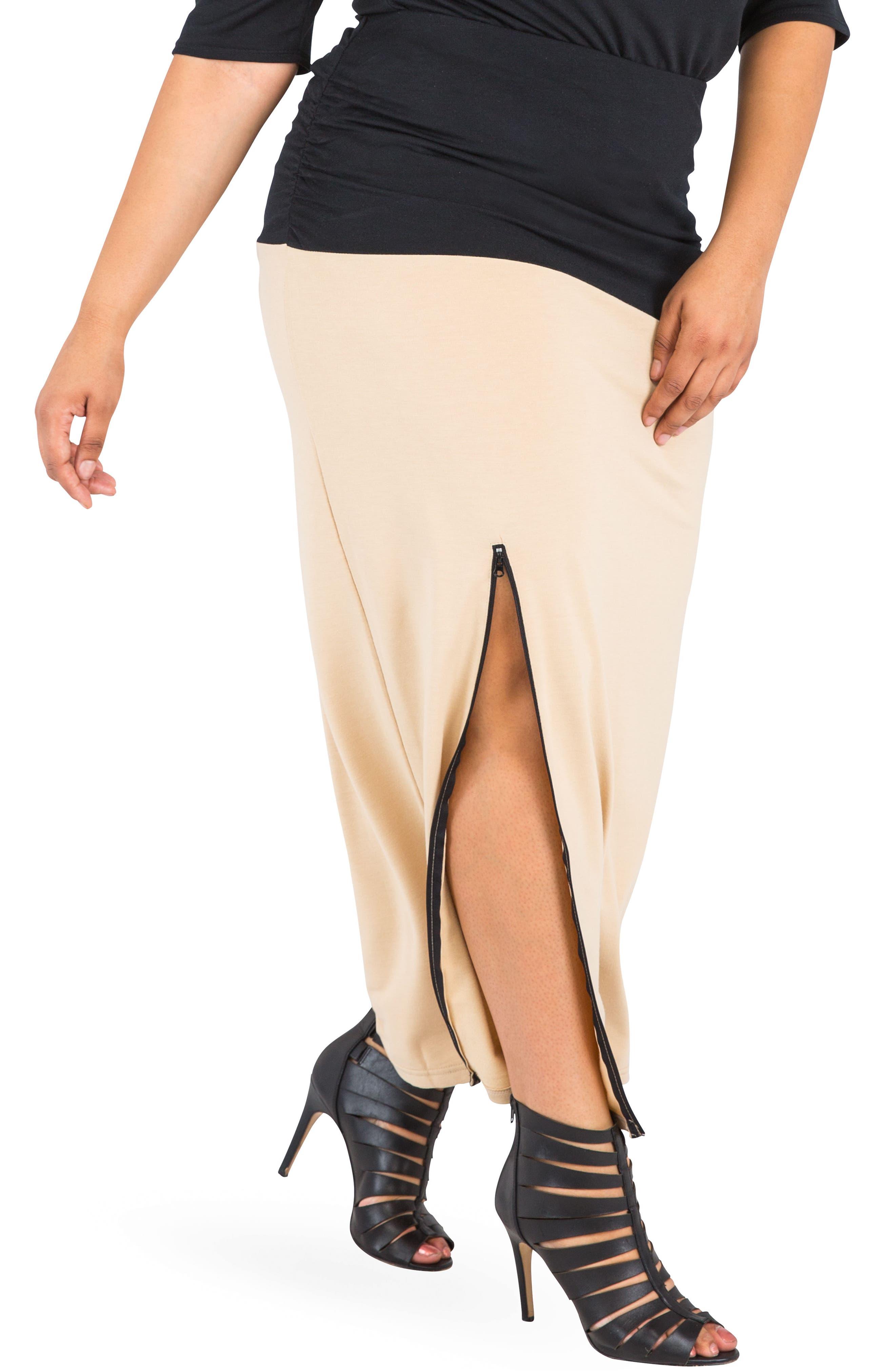 Plus Size Poetic Justice Kandi Zip Slit Maxi Skirt, Beige