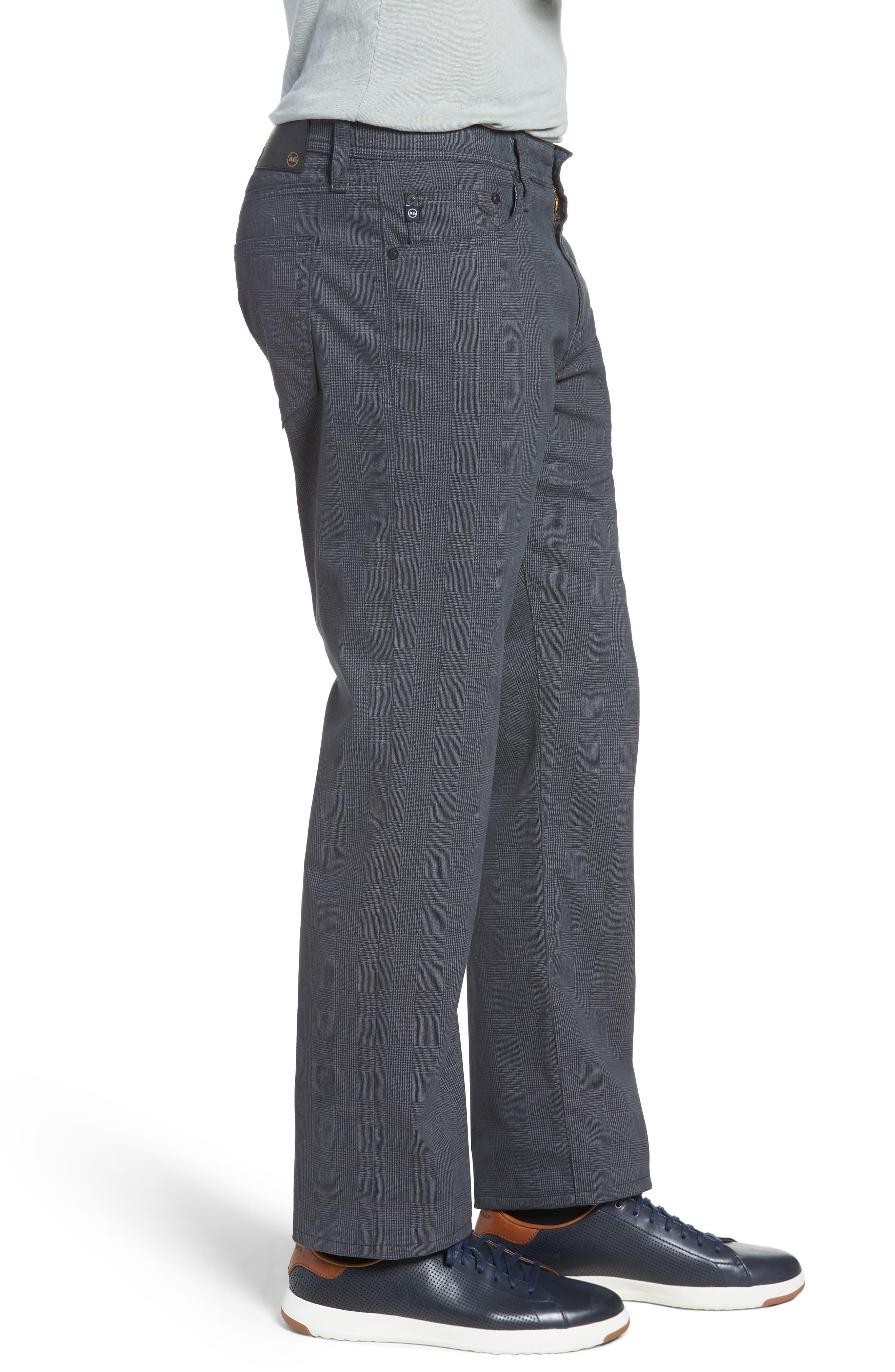 Everett SUD Print Slim Straight Leg Pants,                             Alternate thumbnail 3, color,                             FINE PLAID GREY STONE