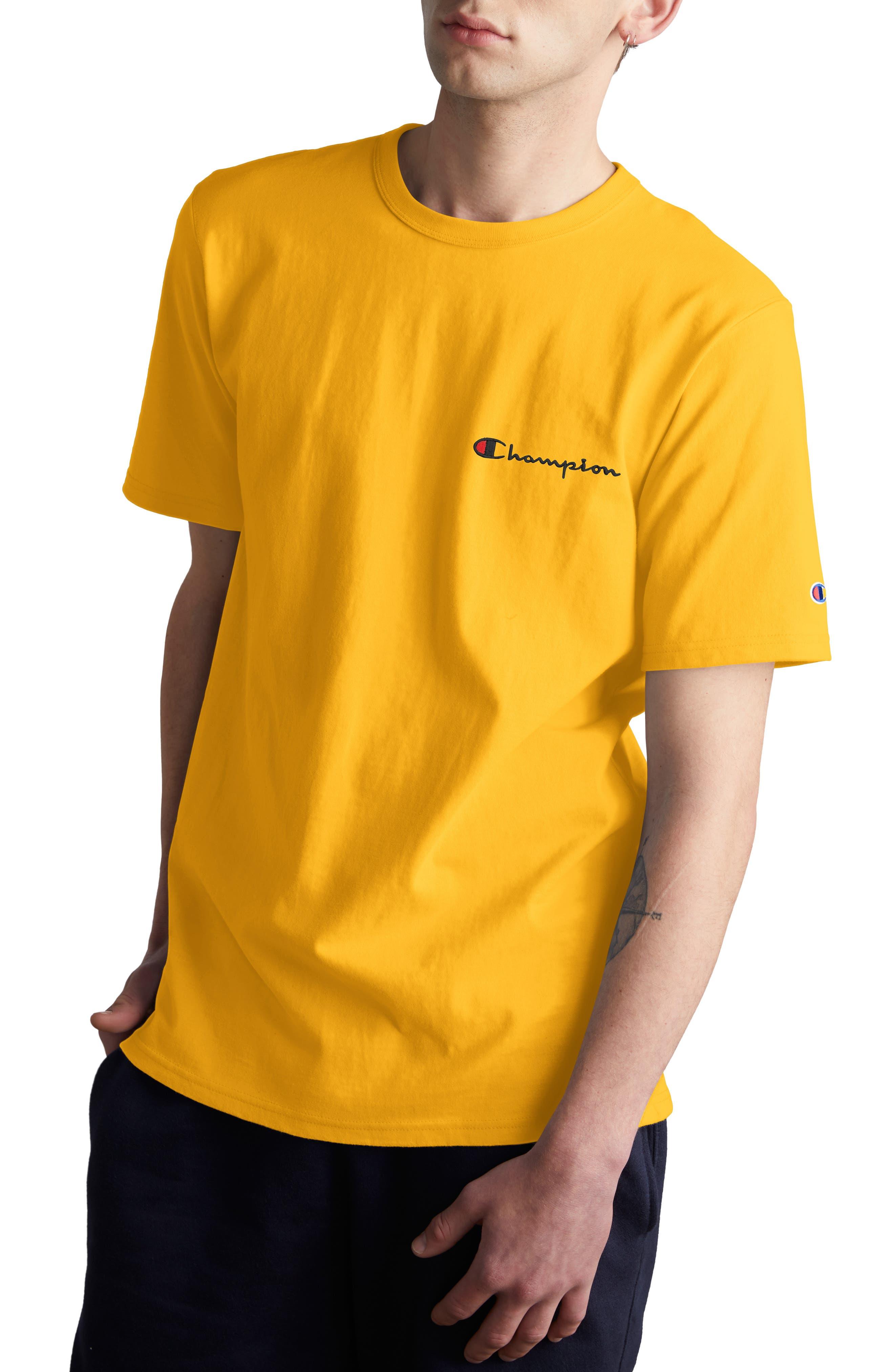 CHAMPION,                             Logo Embroidered Crewneck T-Shirt,                             Main thumbnail 1, color,                             700
