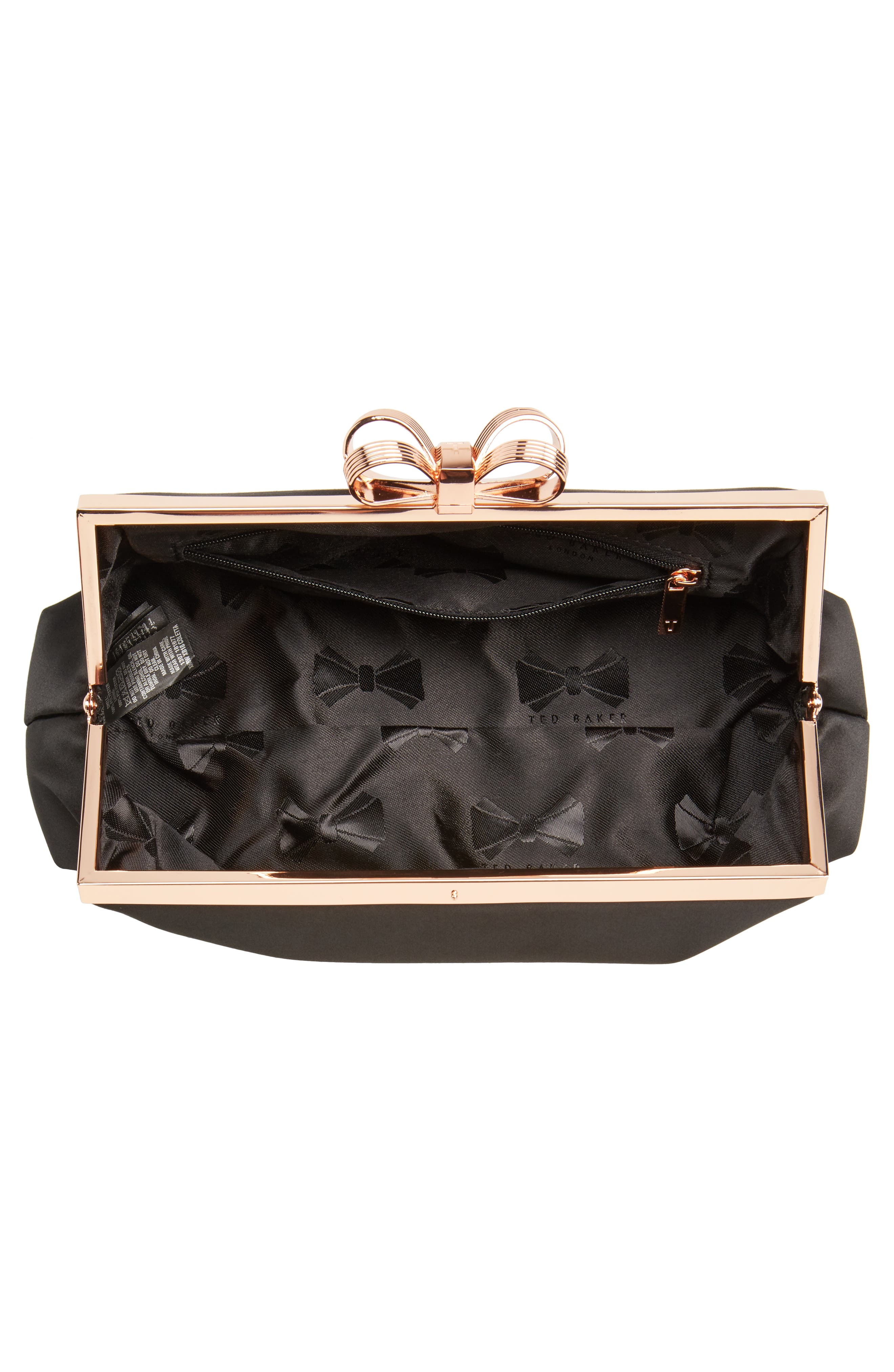 Small Coletta Bow Satin Clutch,                             Alternate thumbnail 4, color,                             001