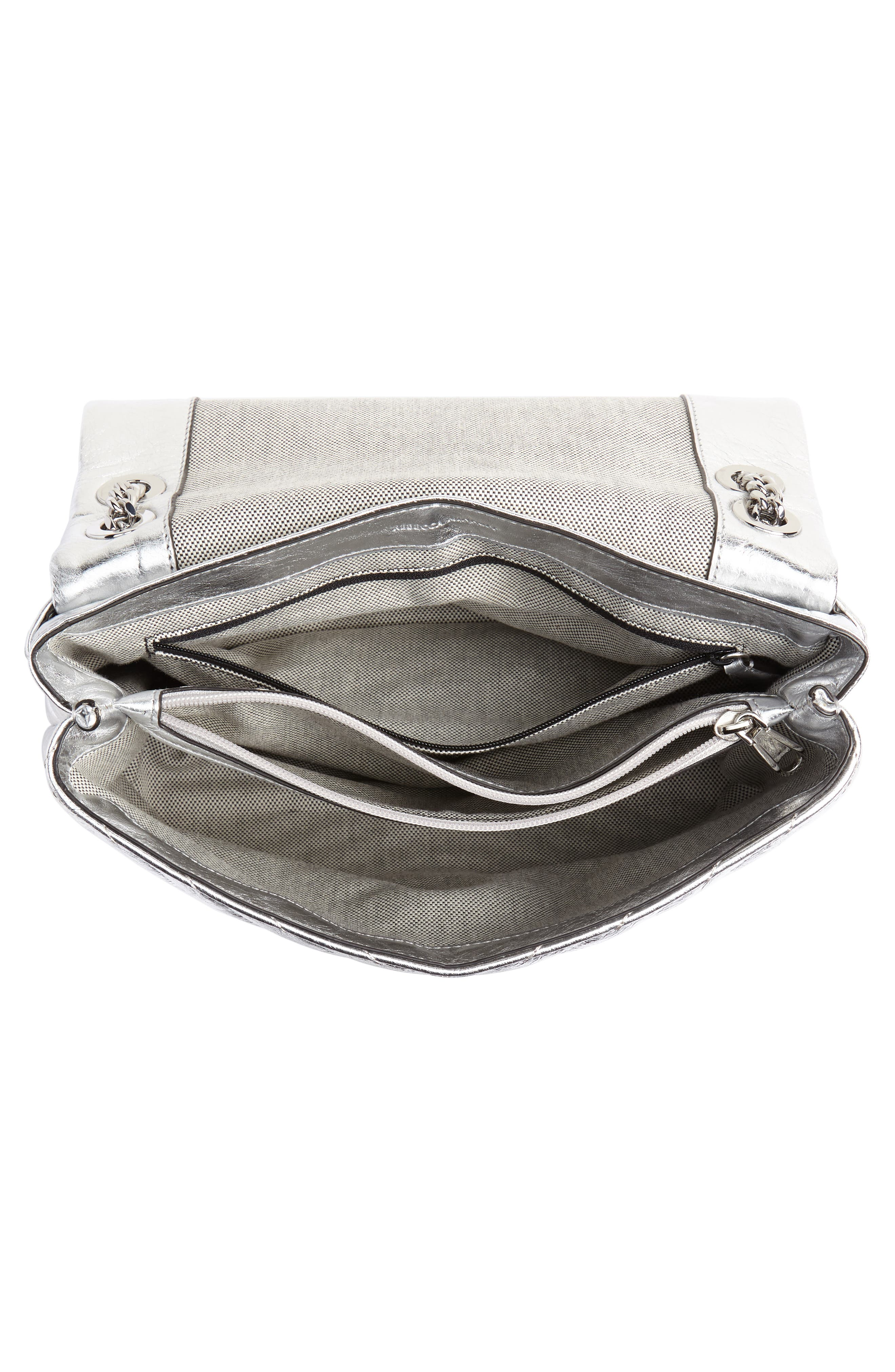 Edie Metallic Leather Shoulder Bag,                             Alternate thumbnail 4, color,                             SILVER