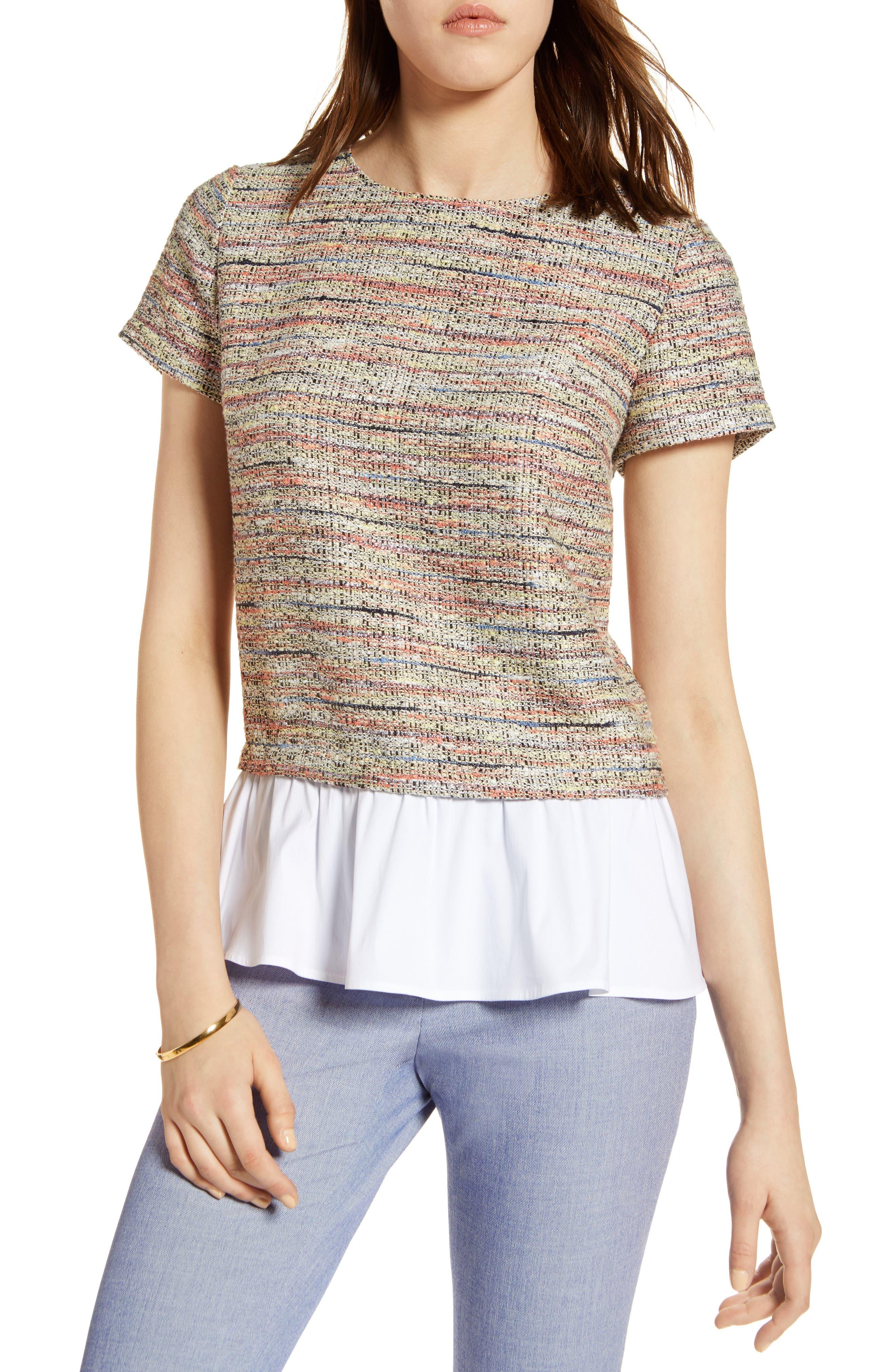 HALOGEN<SUP>®</SUP> Poplin Ruffle Tweed Top, Main, color, 800