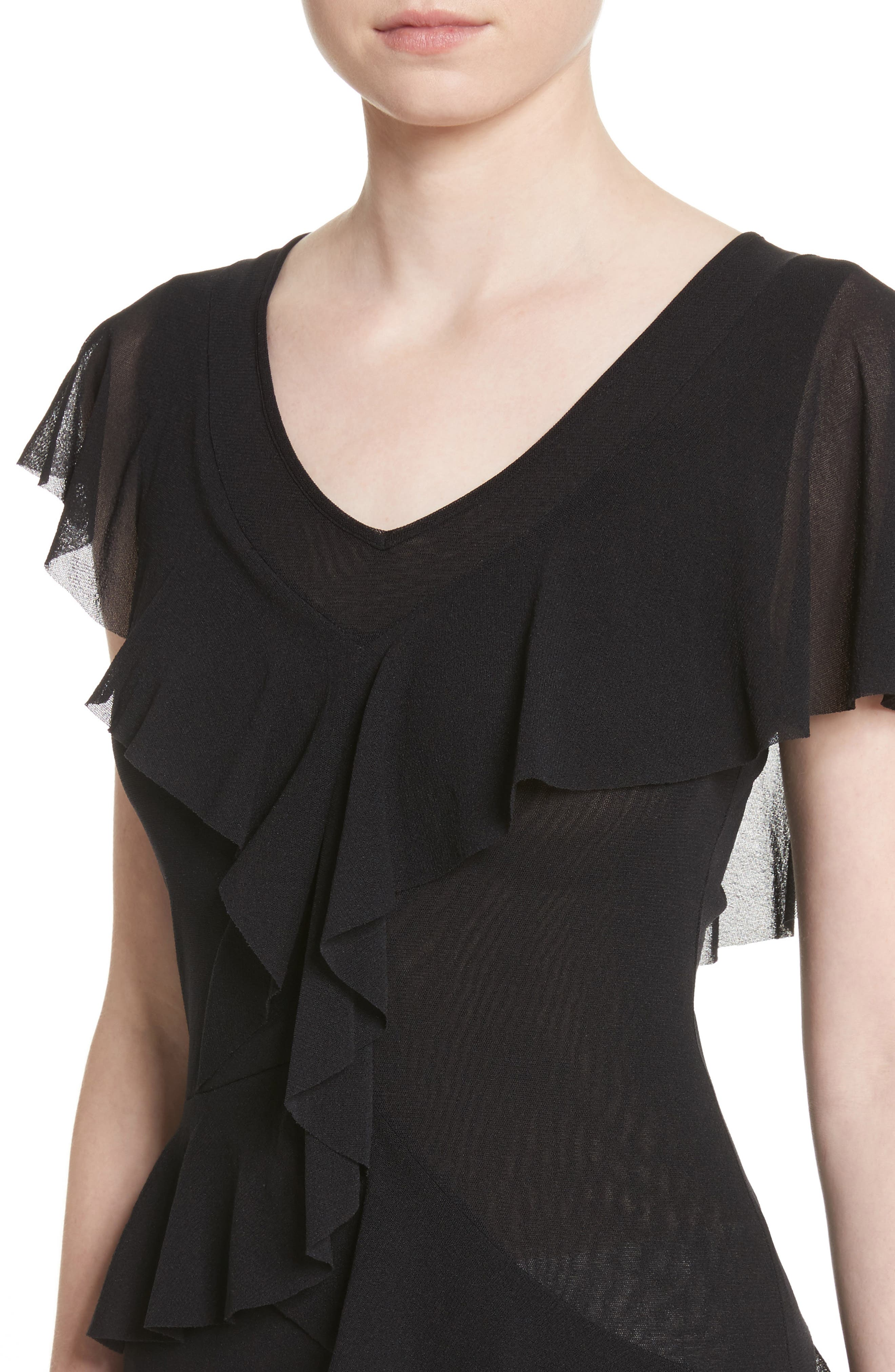 Ruffle Tulle Top,                             Alternate thumbnail 4, color,                             001