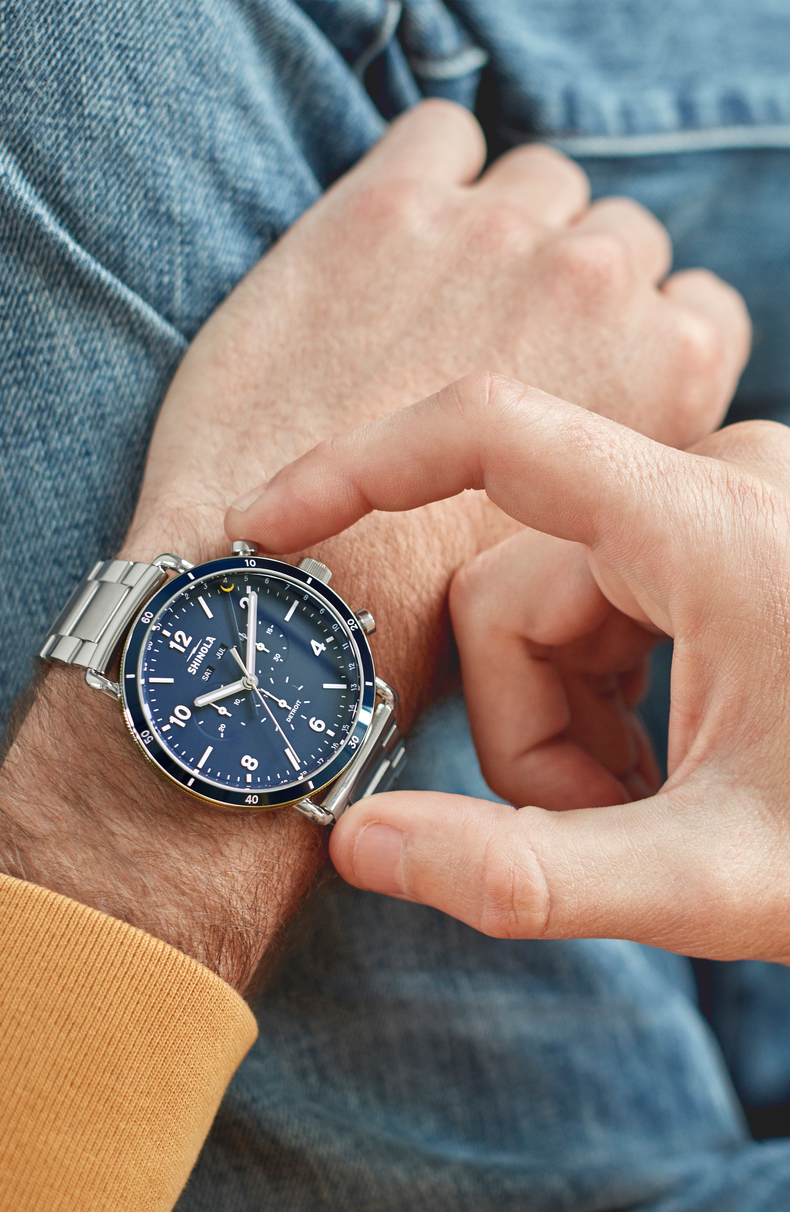 The Canfield Chrono Bracelet Watch, 45mm,                             Alternate thumbnail 5, color,                             SILVER/ MIDNIGHT BLUE/ SILVER