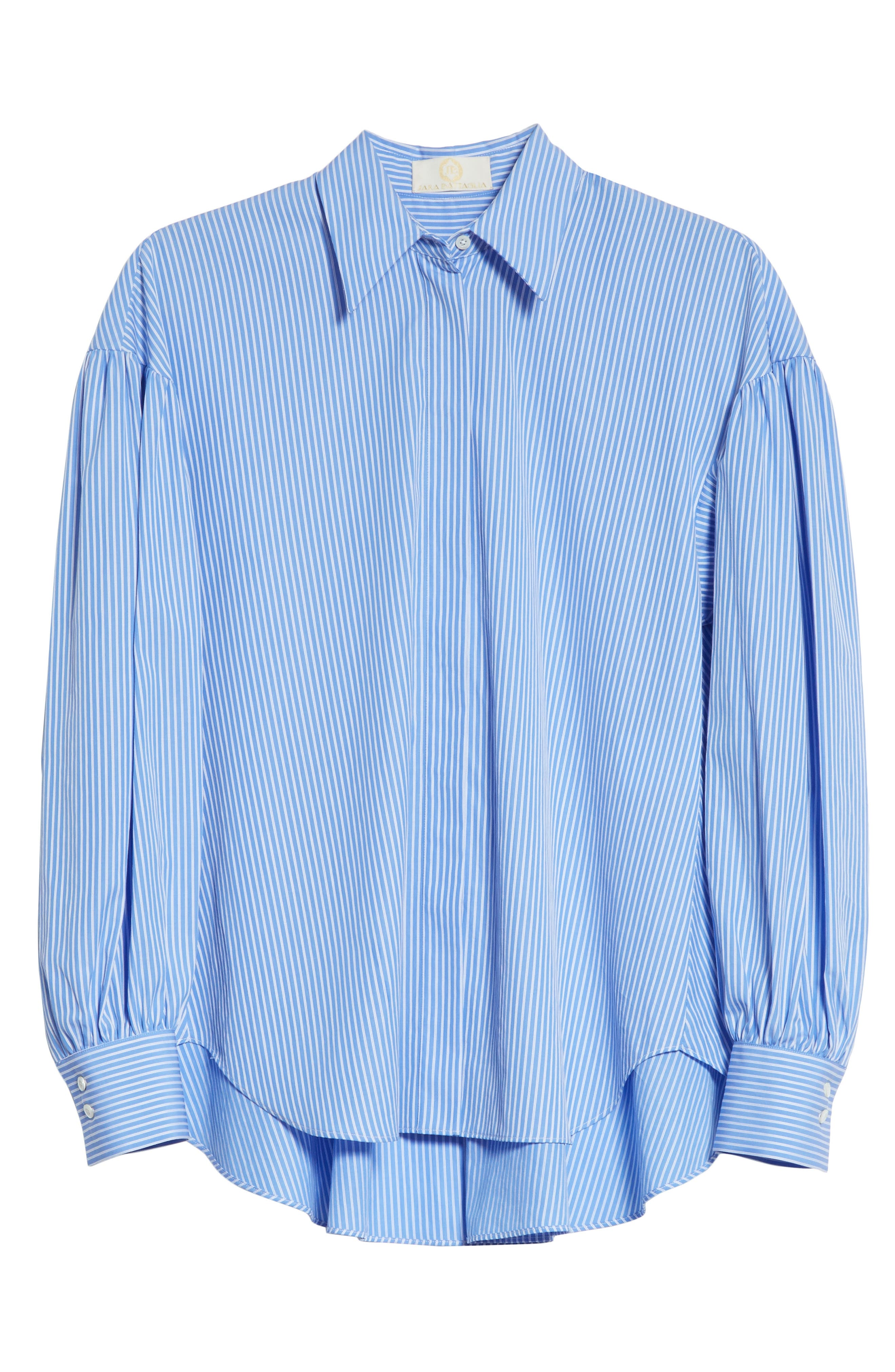 Stripe Puff Sleeve Shirt,                             Alternate thumbnail 6, color,                             400