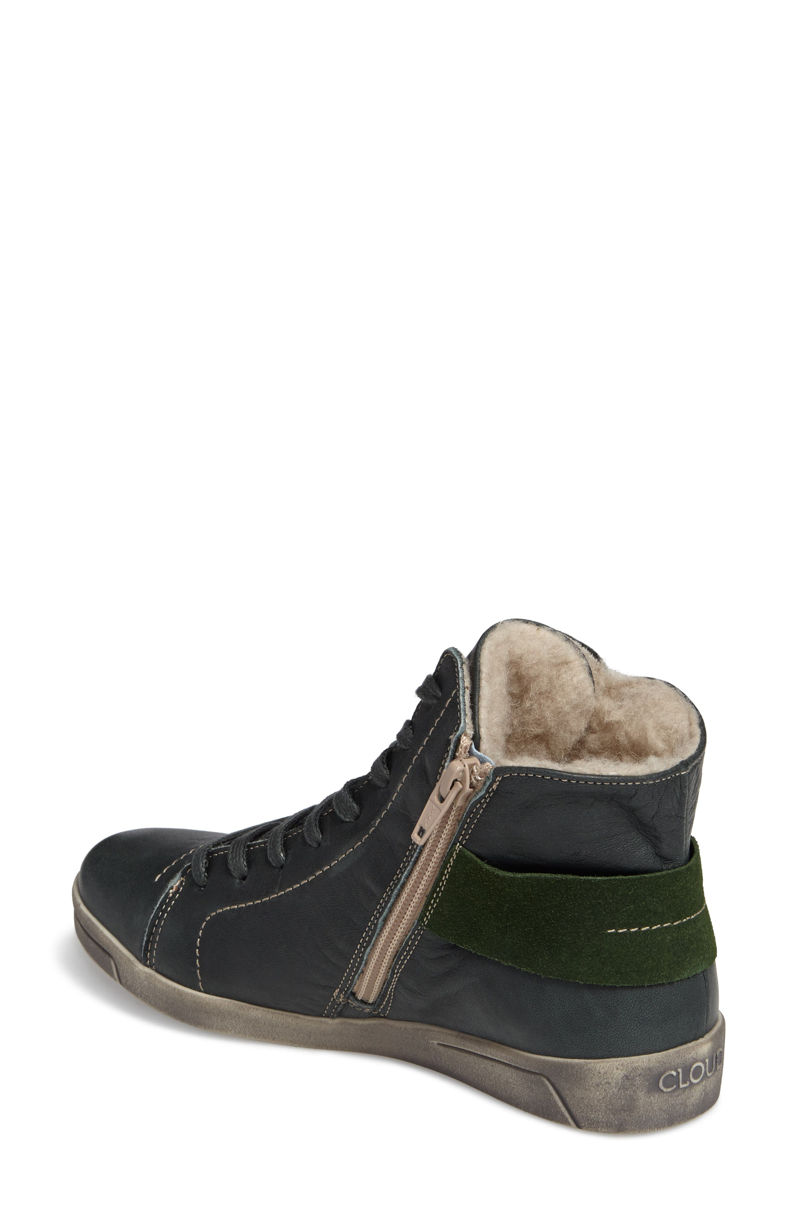 Aline Wool Lined Bootie,                             Alternate thumbnail 2, color,                             GREEN LEATHER