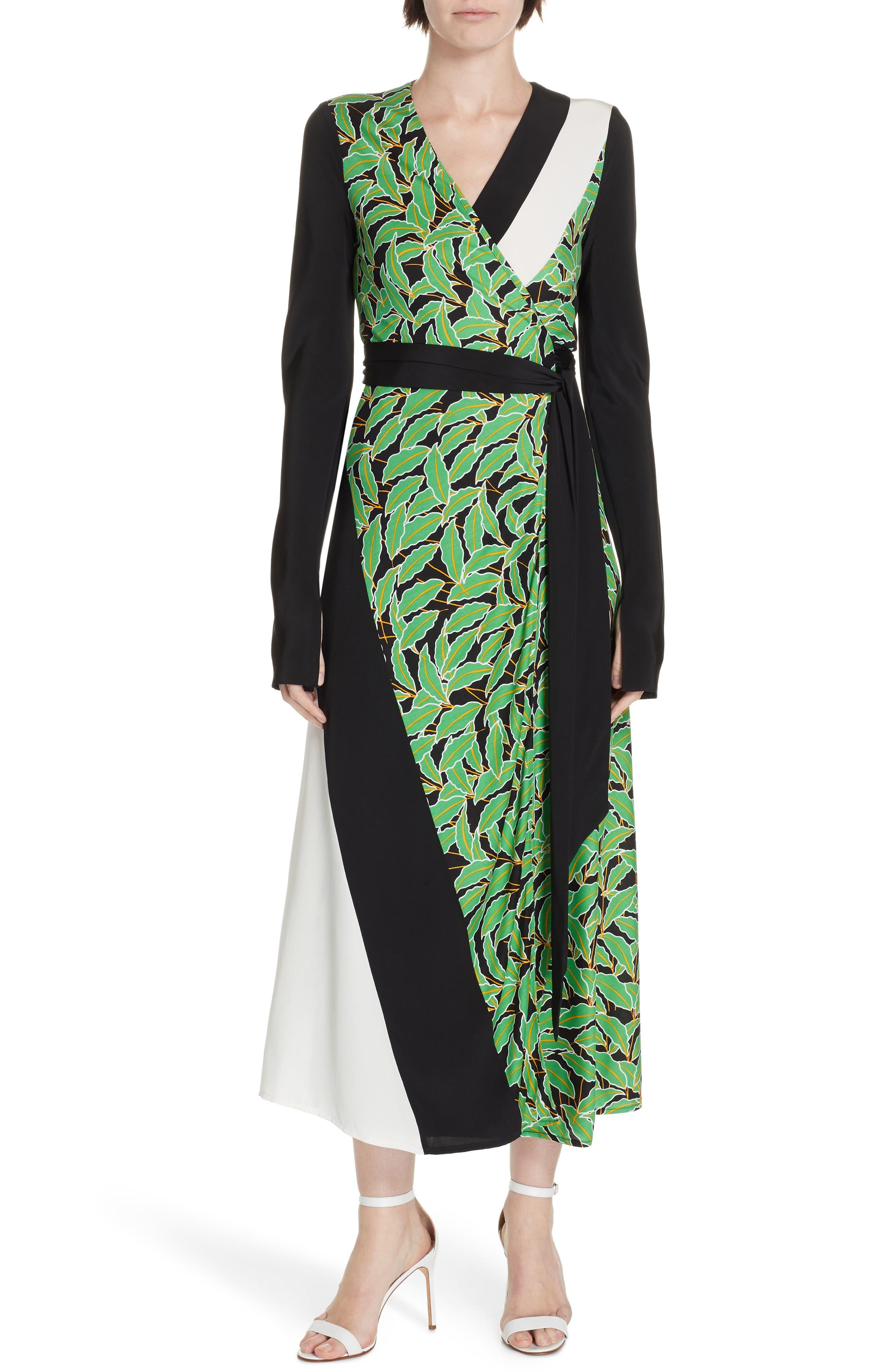 Maureen Leaf Print Silk Wrap Dress,                             Main thumbnail 1, color,                             WINDSOR PALM BLACK MULTI