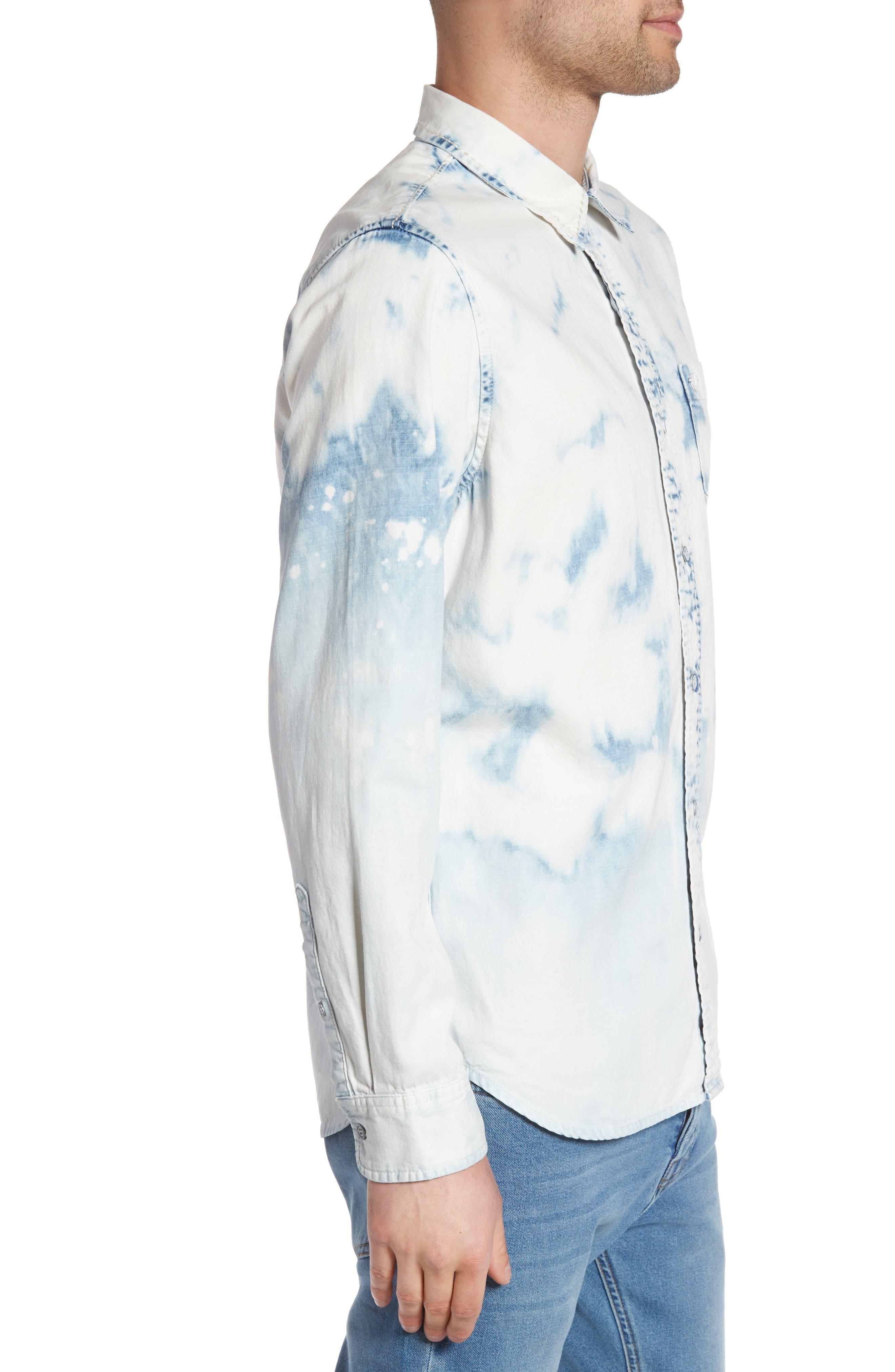 Bleached Denim Shirt,                             Alternate thumbnail 3, color,                             400