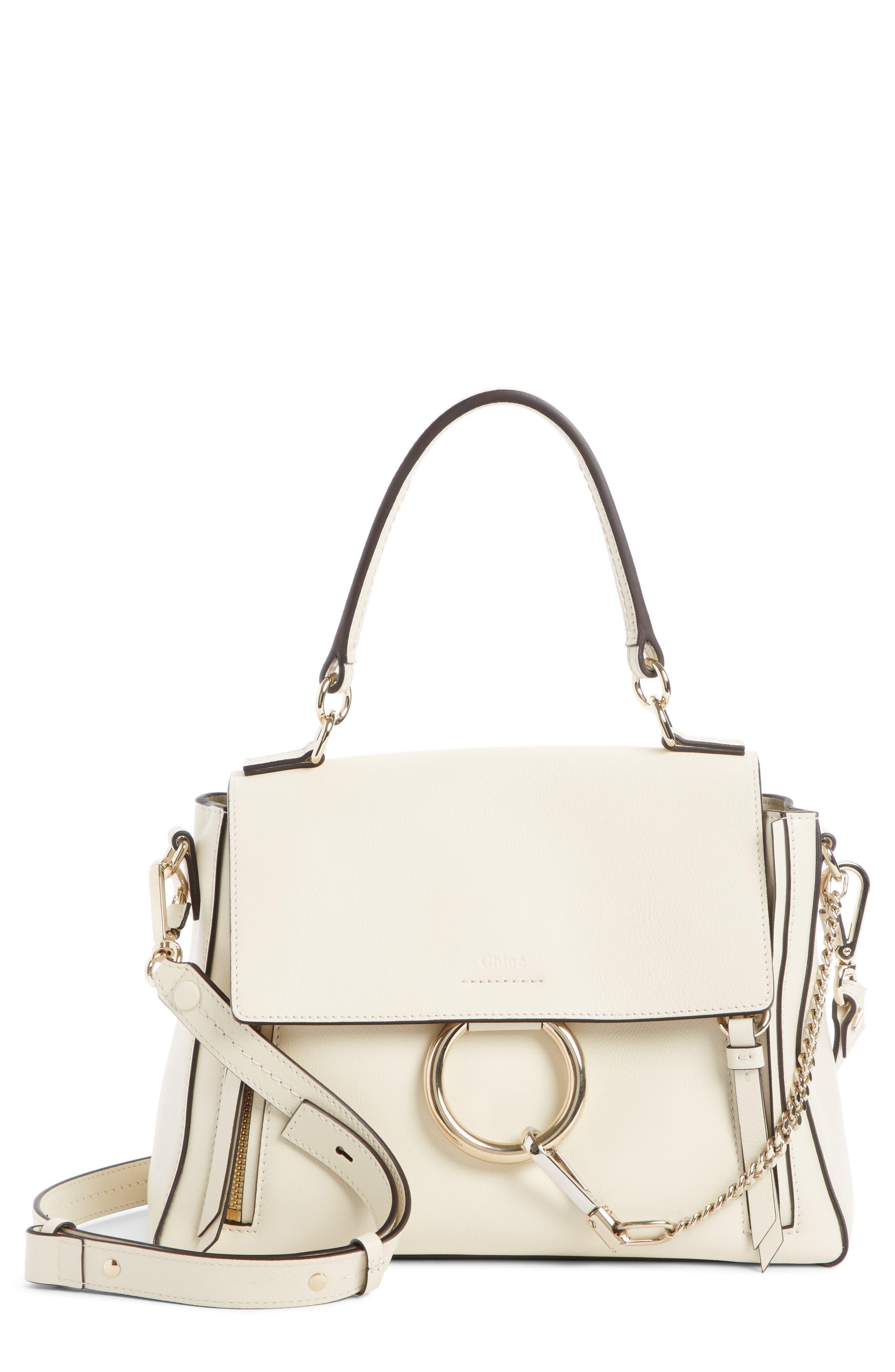 Mini Faye Day Leather Crossbody Bag,                             Main thumbnail 1, color,                             OFF WHITE
