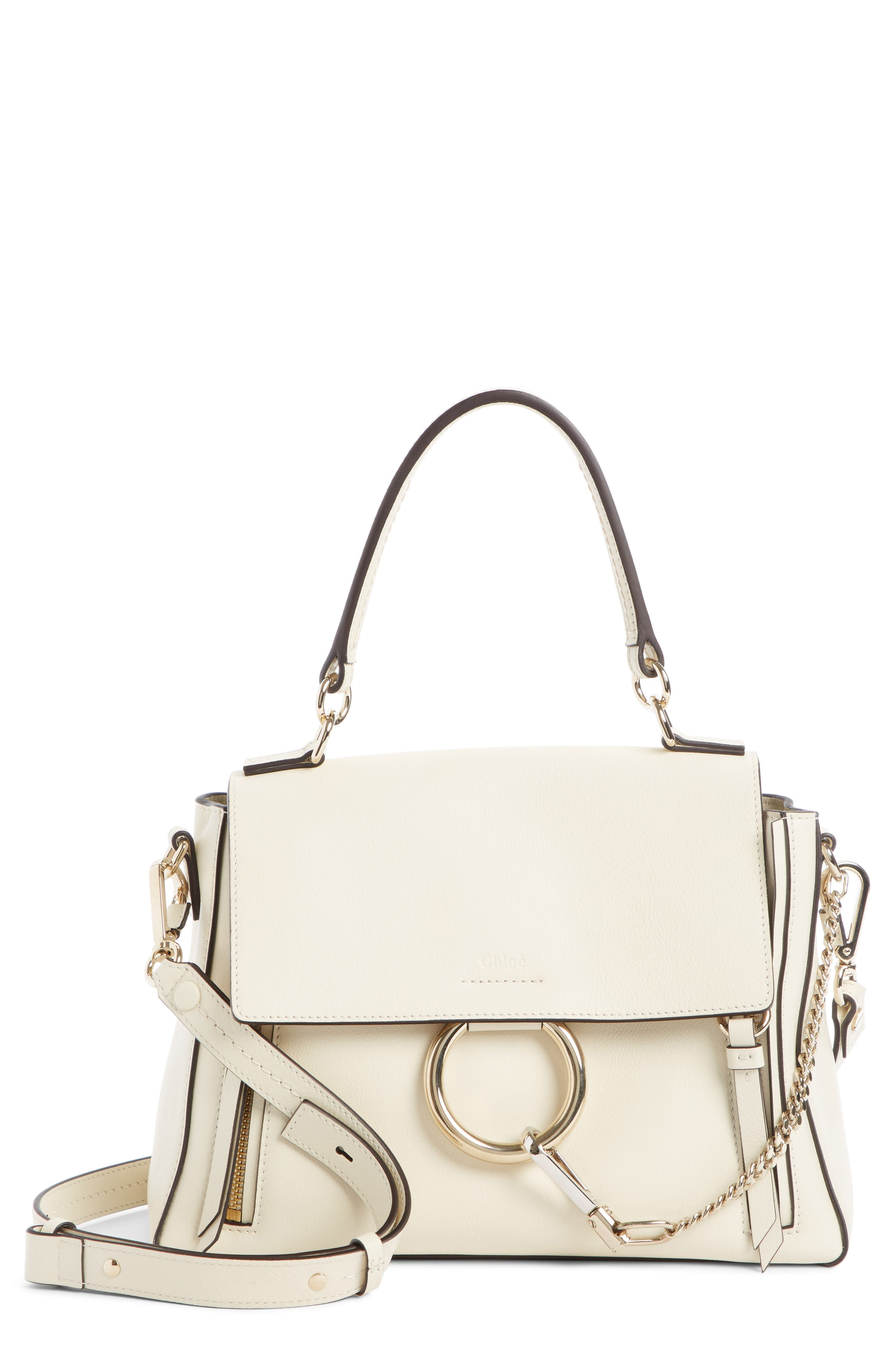 Mini Faye Day Leather Crossbody Bag,                         Main,                         color, OFF WHITE