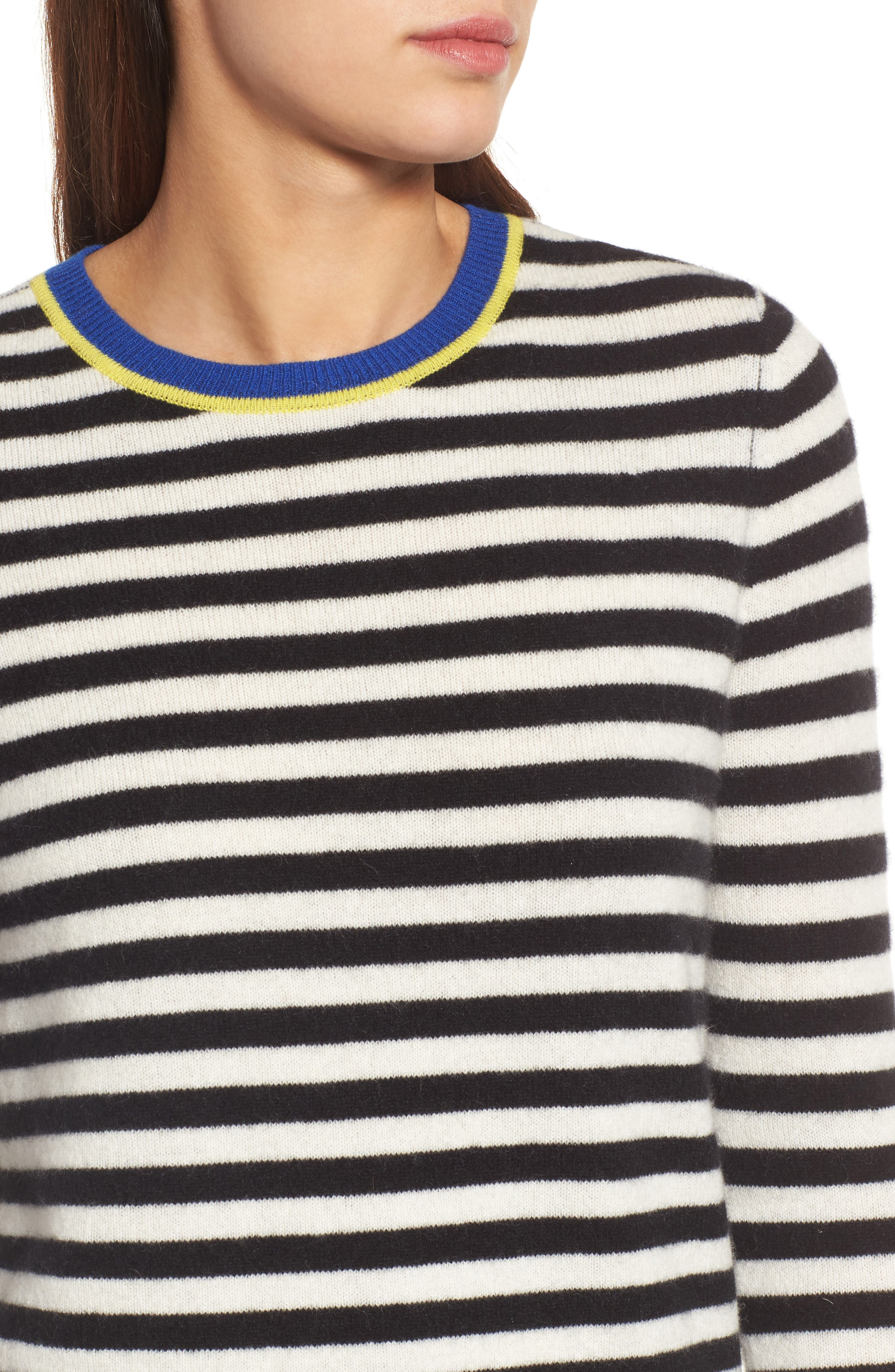 Stripe Cashmere Sweater,                             Alternate thumbnail 4, color,                             001