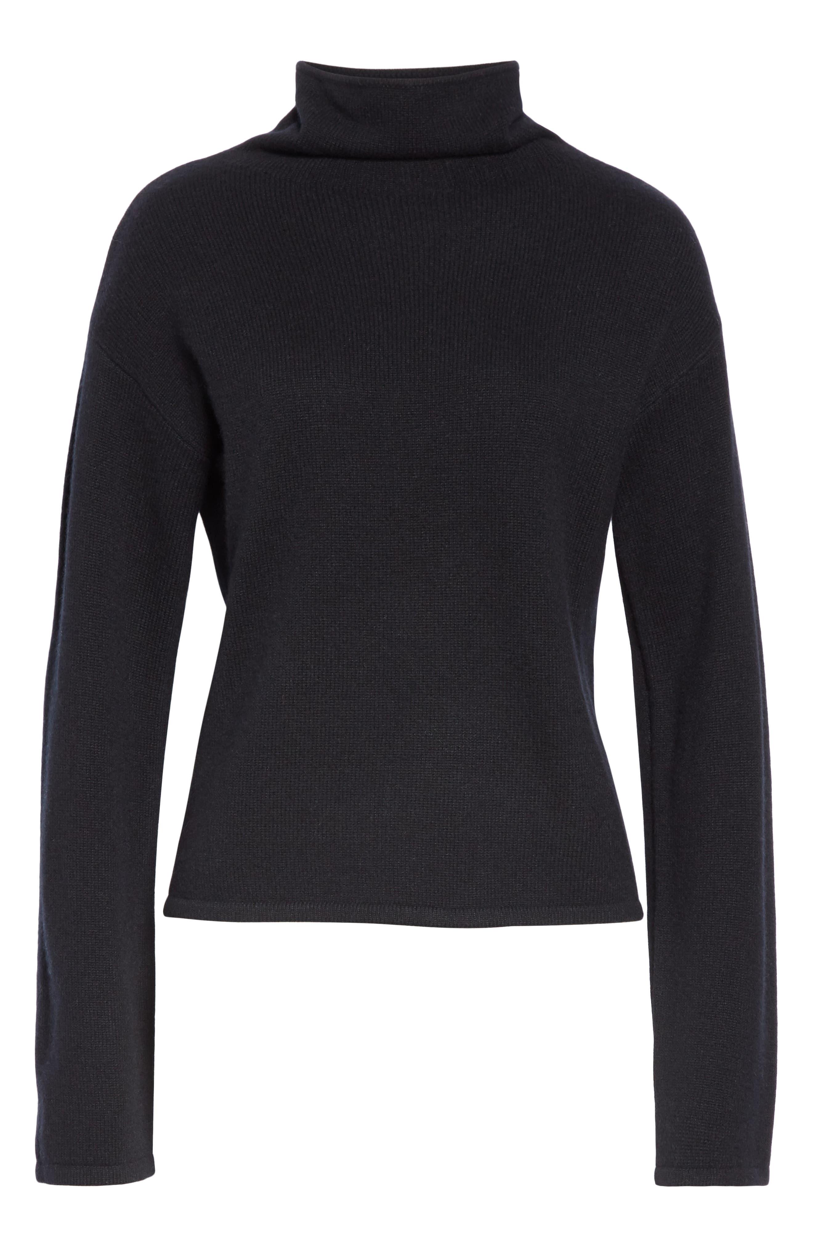 Funnel Neck Cashmere Sweater,                             Alternate thumbnail 6, color,                             BLACK