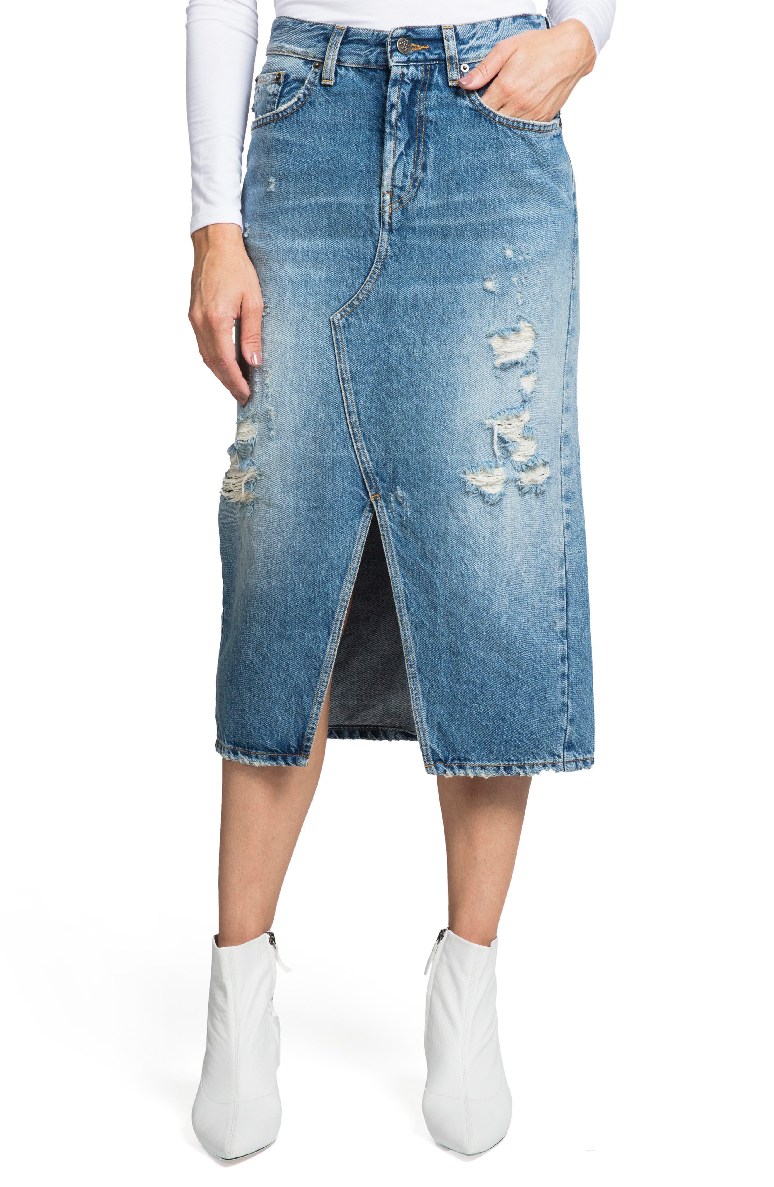 PRPS Split Front Distressed Denim Midi Skirt in Light Indigo