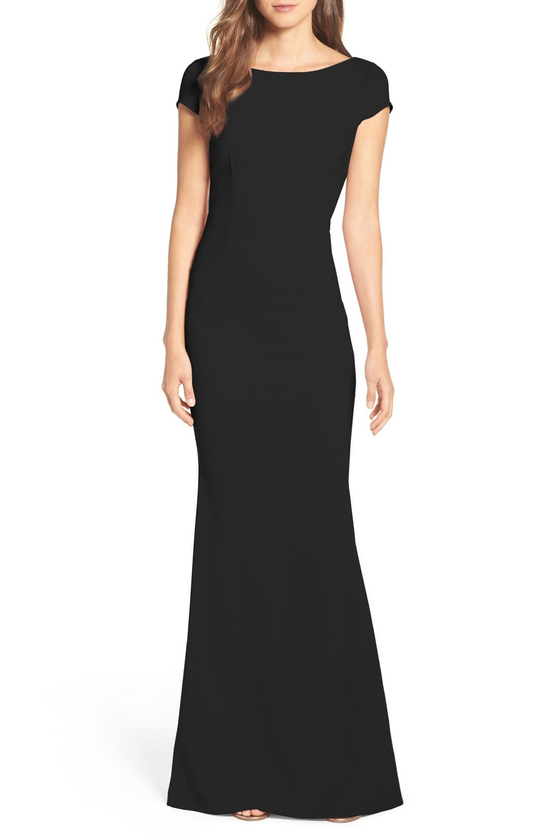 Intrigue Plunge Knot Back Gown,                             Main thumbnail 1, color,                             BLACK