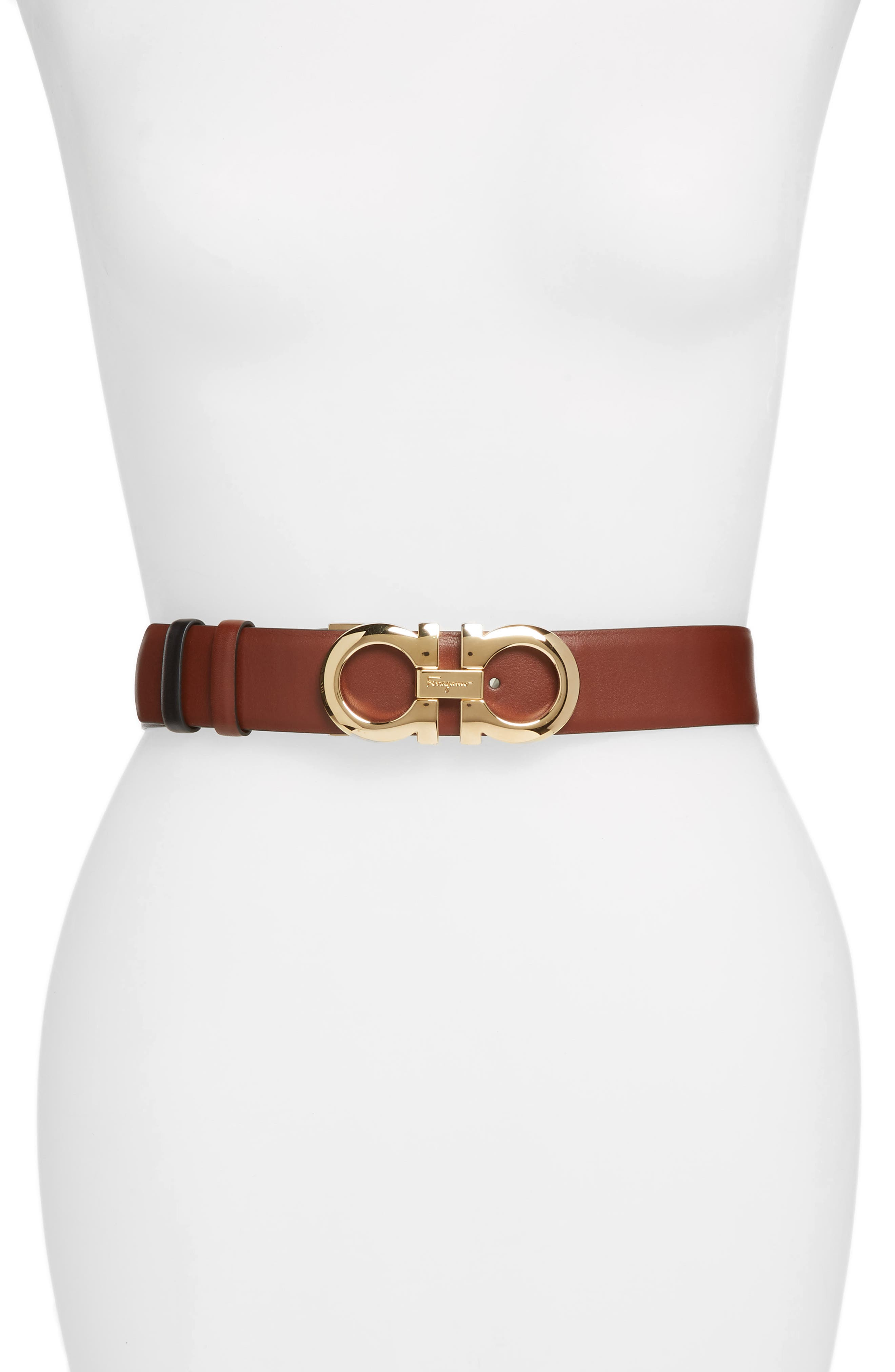 Reversible Gancini Calfskin Leather Belt,                         Main,                         color, PECAN
