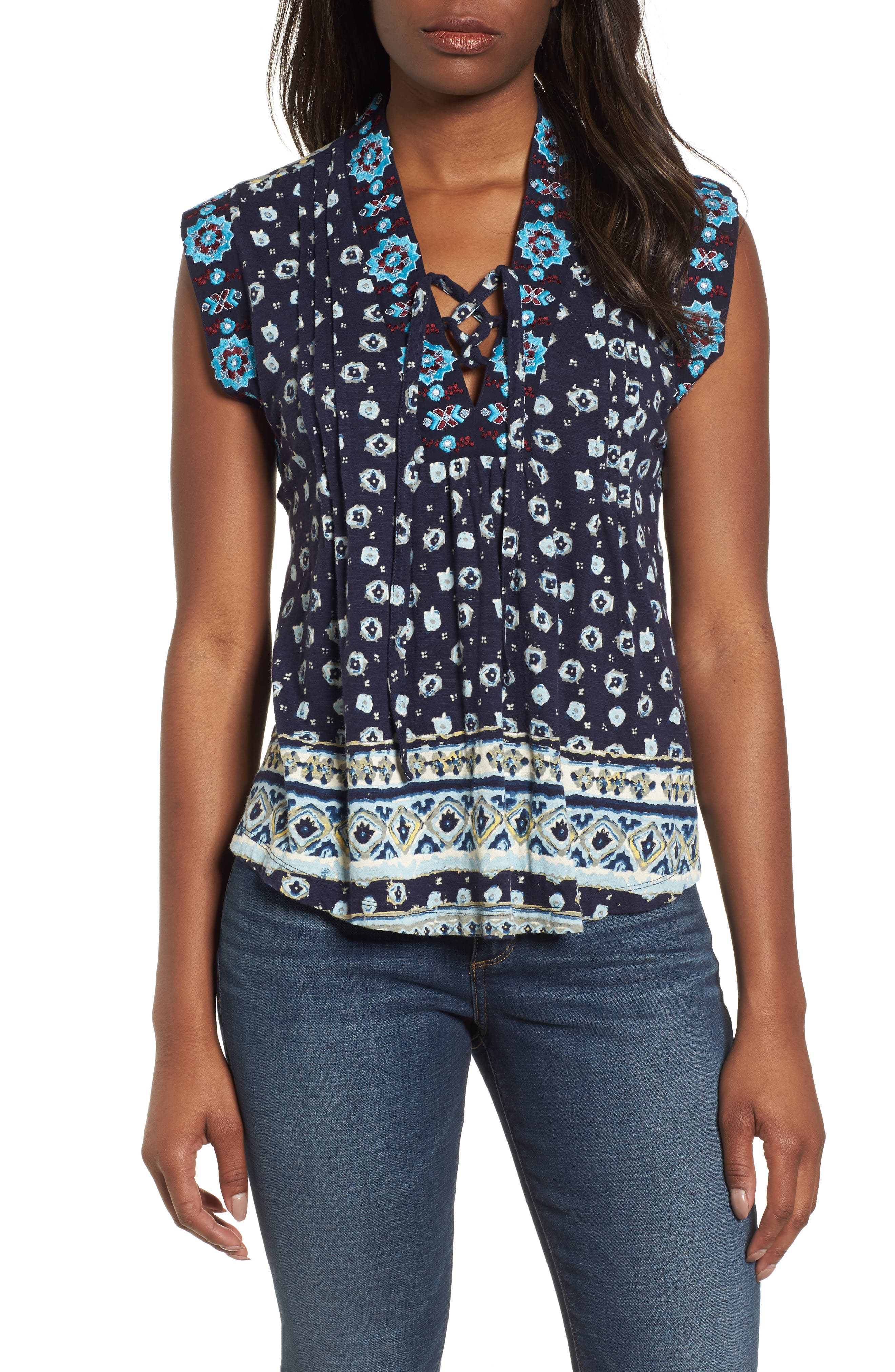 Lace-Up Printed Top,                         Main,                         color, 400