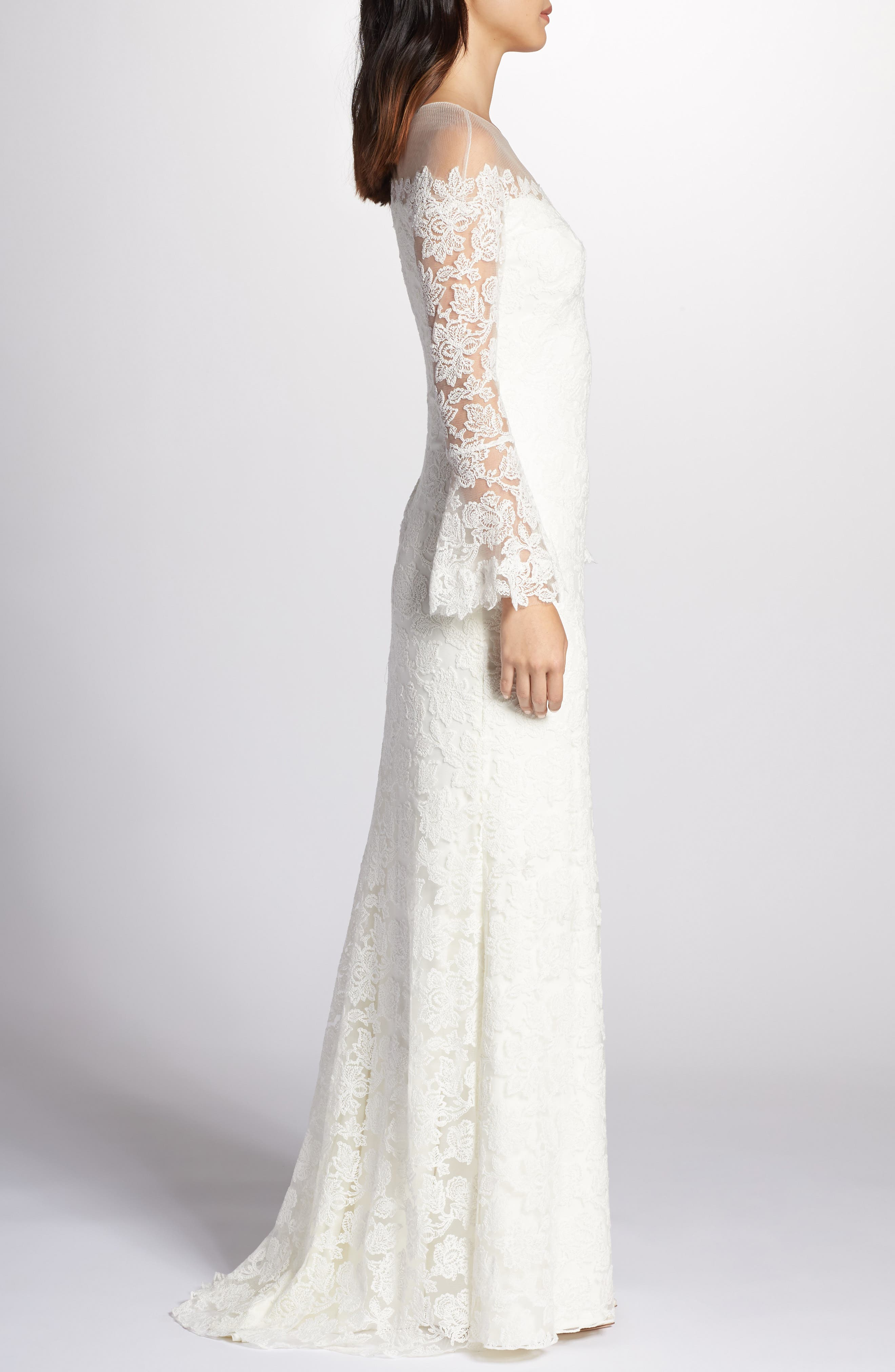 Bell Sleeve Lace Gown,                             Alternate thumbnail 3, color,                             IVORY