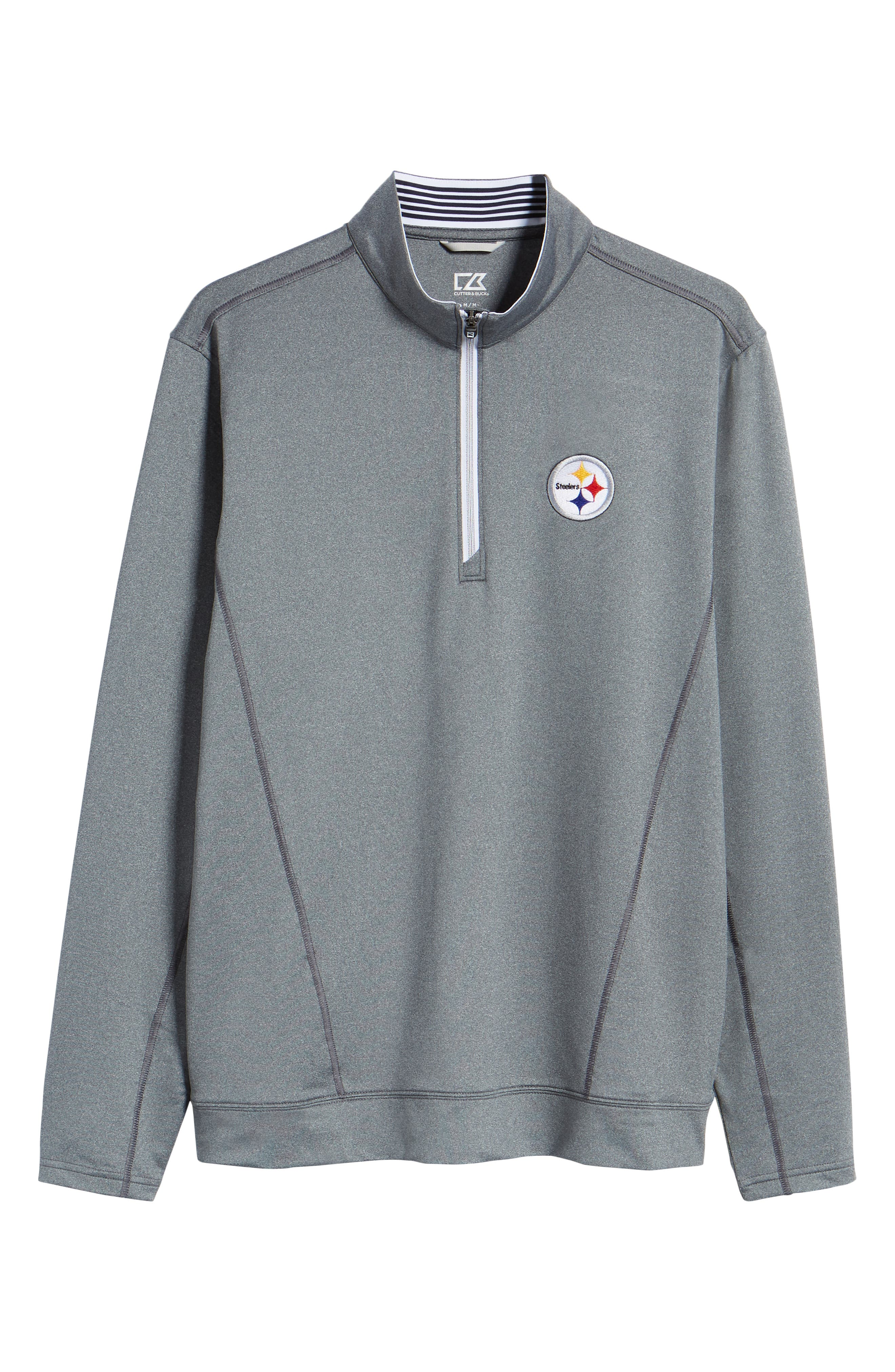 Endurance Pittsburgh Steelers Regular Fit Pullover,                             Alternate thumbnail 6, color,                             CHARCOAL HEATHER