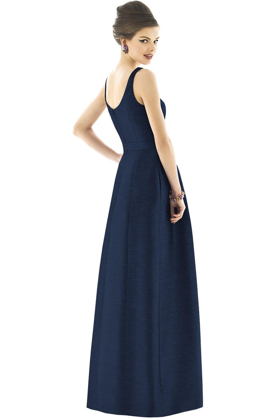 Scoop Neck Dupioni Full Length Dress,                             Alternate thumbnail 9, color,