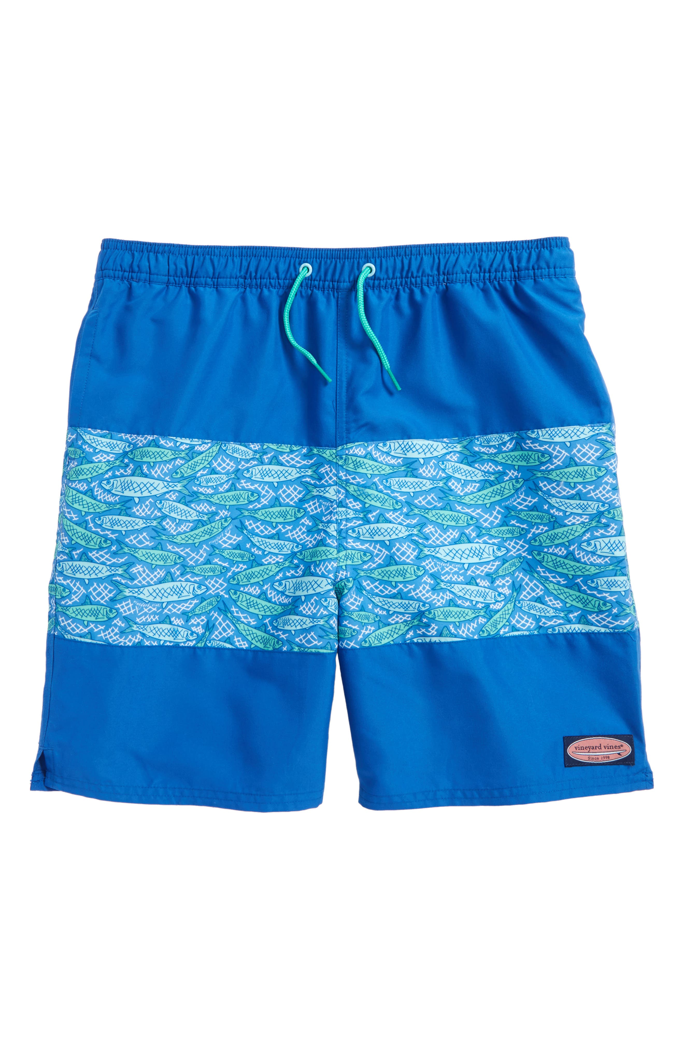 Fish Scale Chappy Swim Trunks,                             Main thumbnail 1, color,
