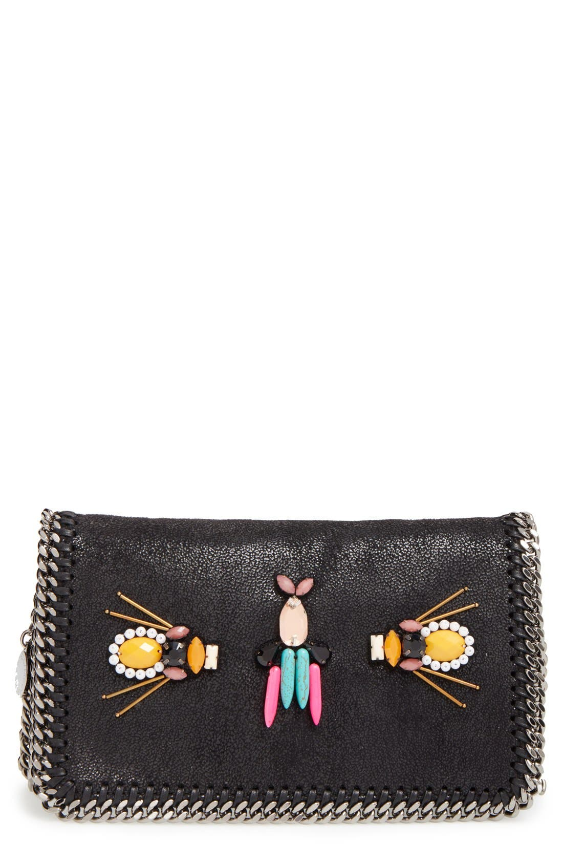 STELLA MCCARTNEY 'Falabella Crystal' Embellished Faux Leather Crossbody Bag, Main, color, 001