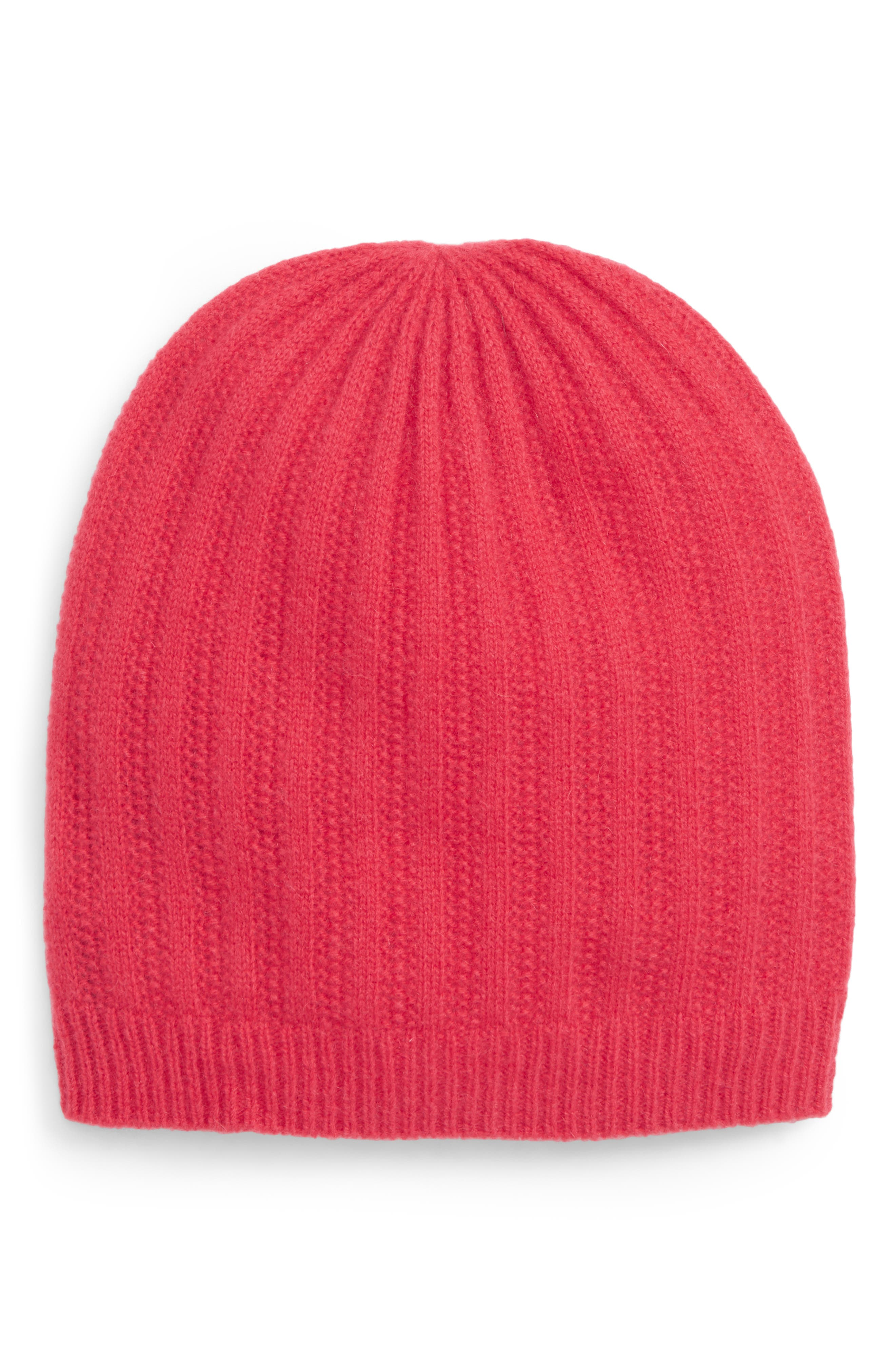Halogen Ribbed Cashmere Beanie - Pink