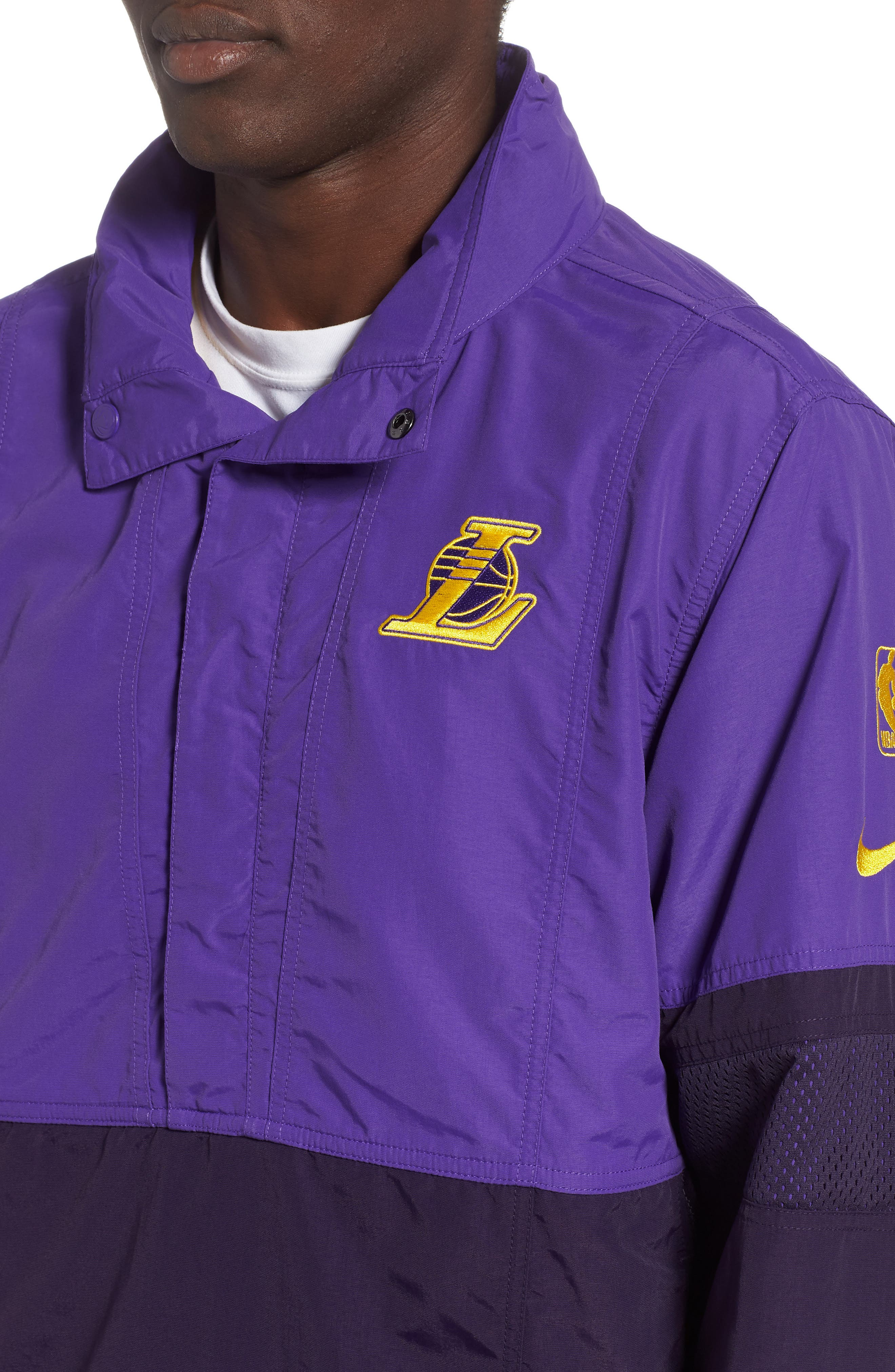Los Angeles Lakers Courtside Warm-Up Jacket,                             Alternate thumbnail 4, color,                             FIELD PURPLE/PURPLE/ AMARILLO
