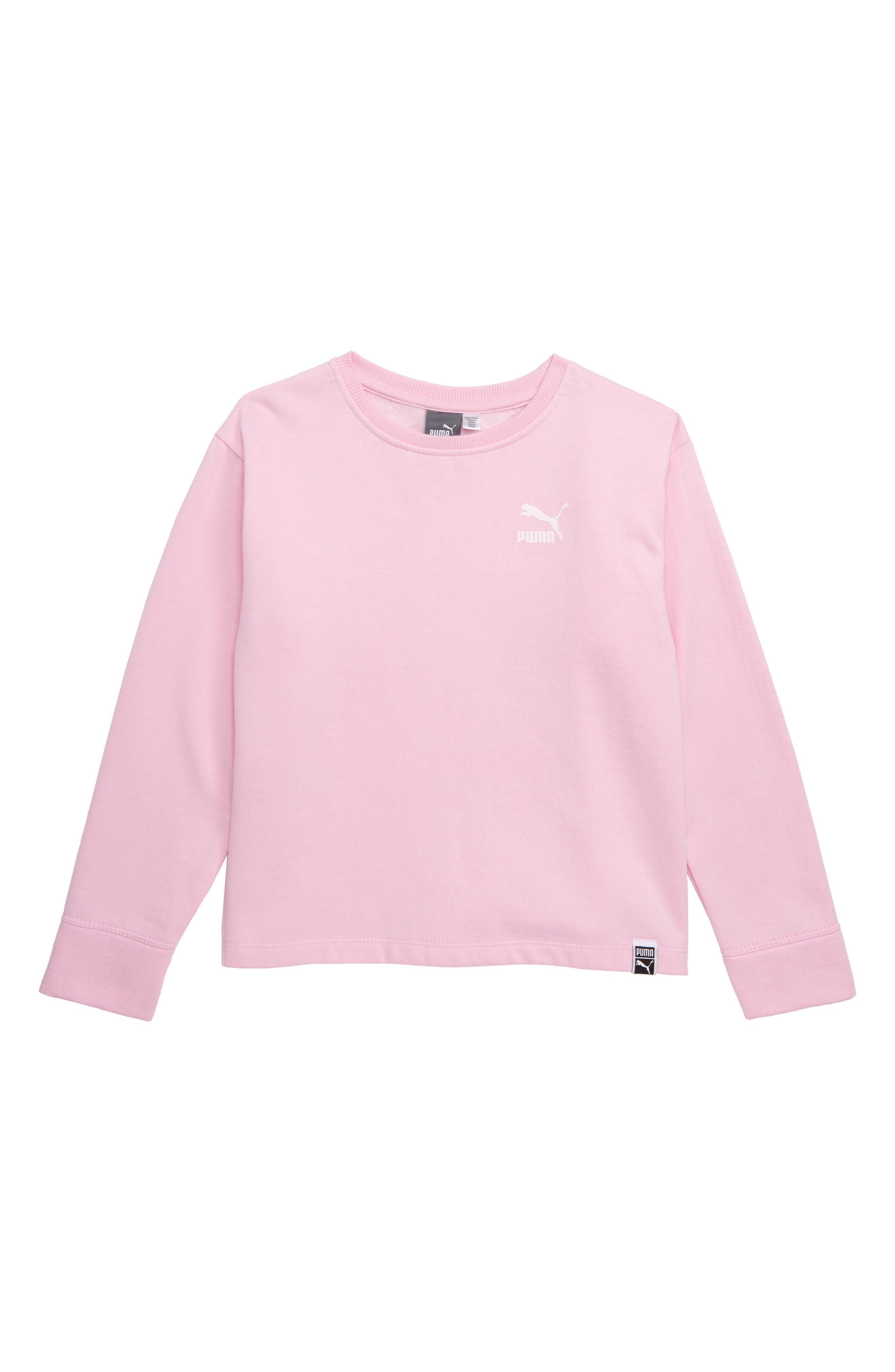 PUMA,                             Oversize Fleece Pullover,                             Main thumbnail 1, color,                             PALE PINK