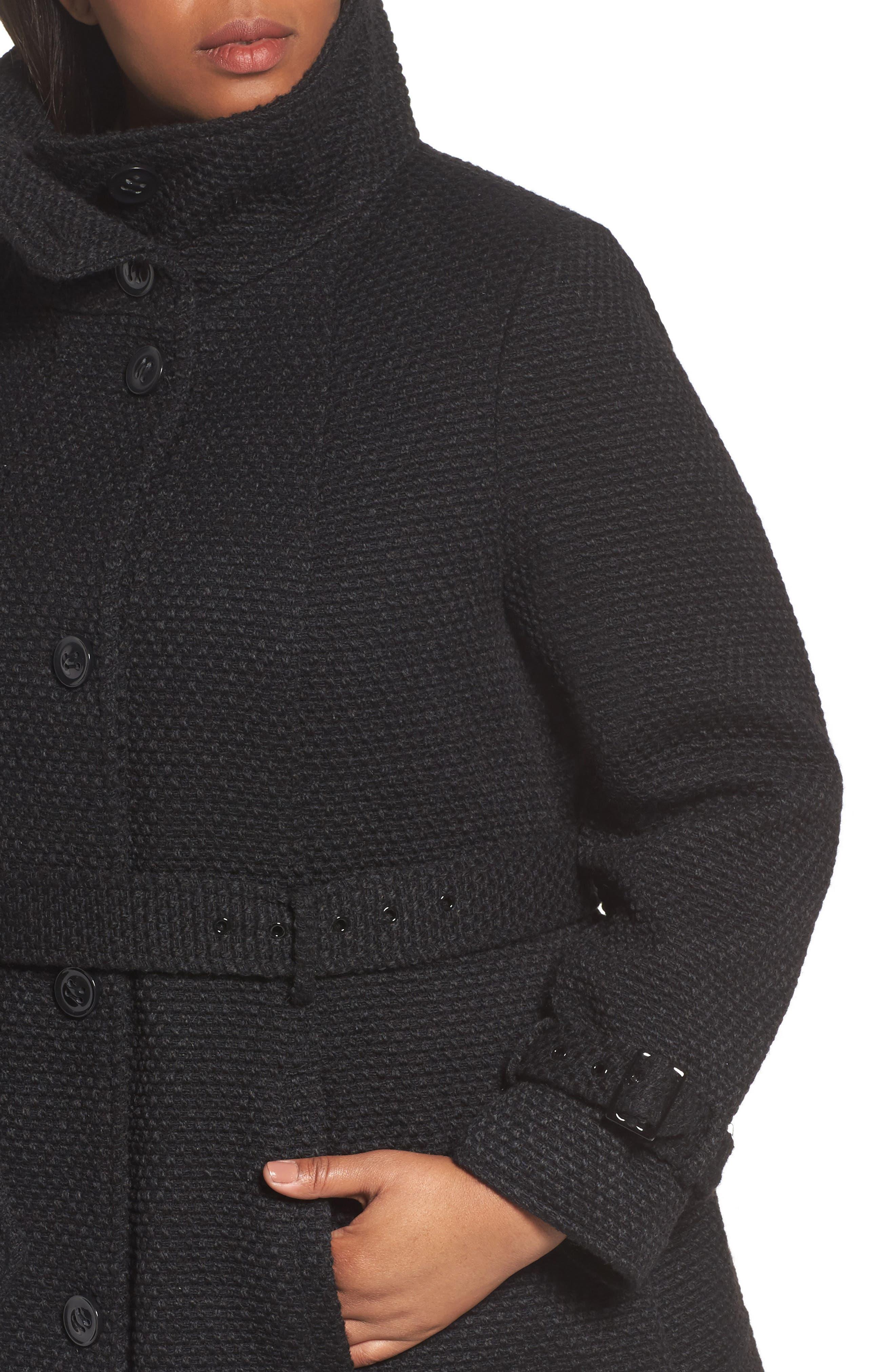 Waffle Woven Coat,                             Alternate thumbnail 4, color,                             001