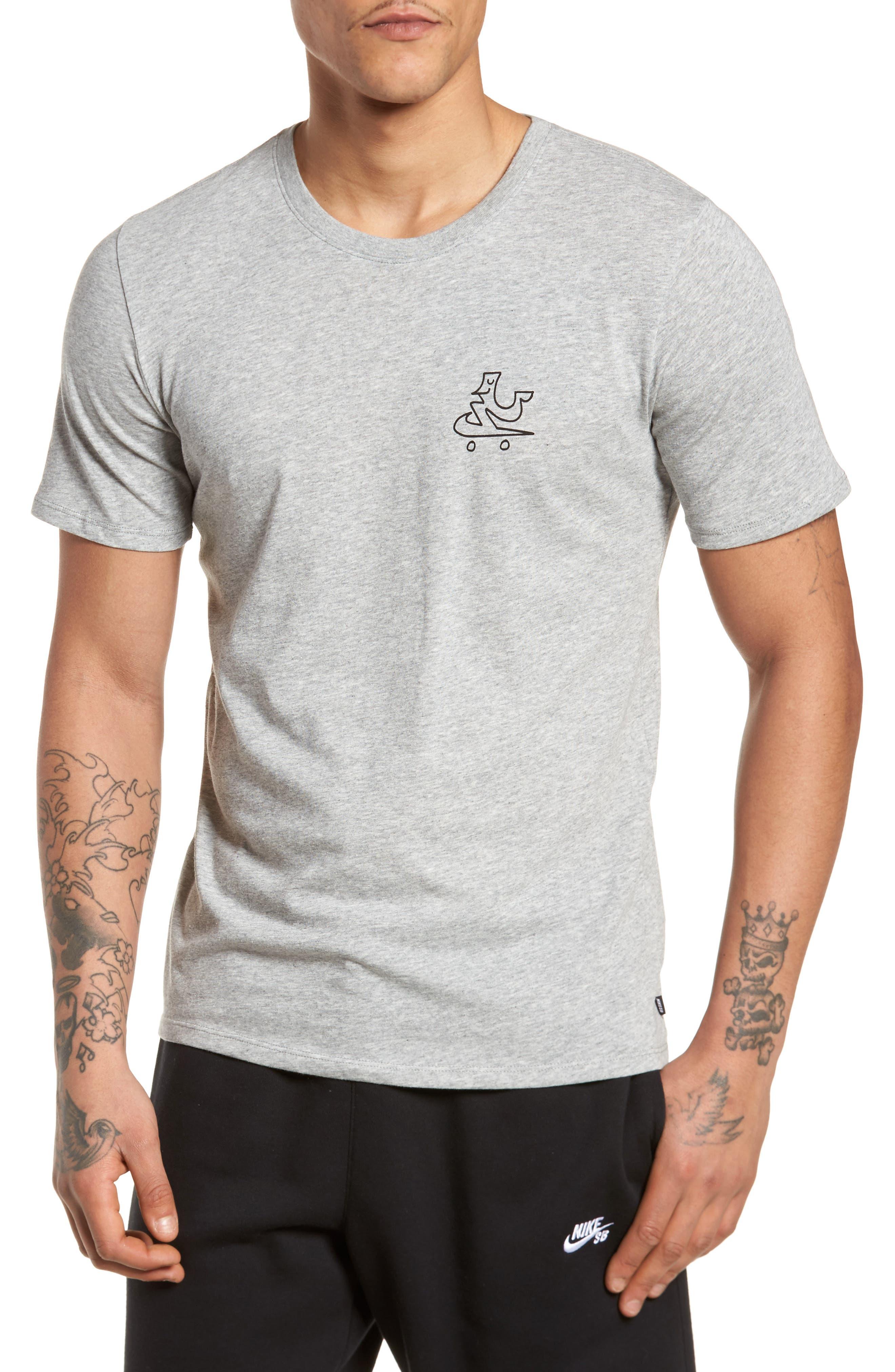 Dry Swooshie Crewneck T-Shirt,                         Main,                         color, DARK GREY HEATHER/ BLACK