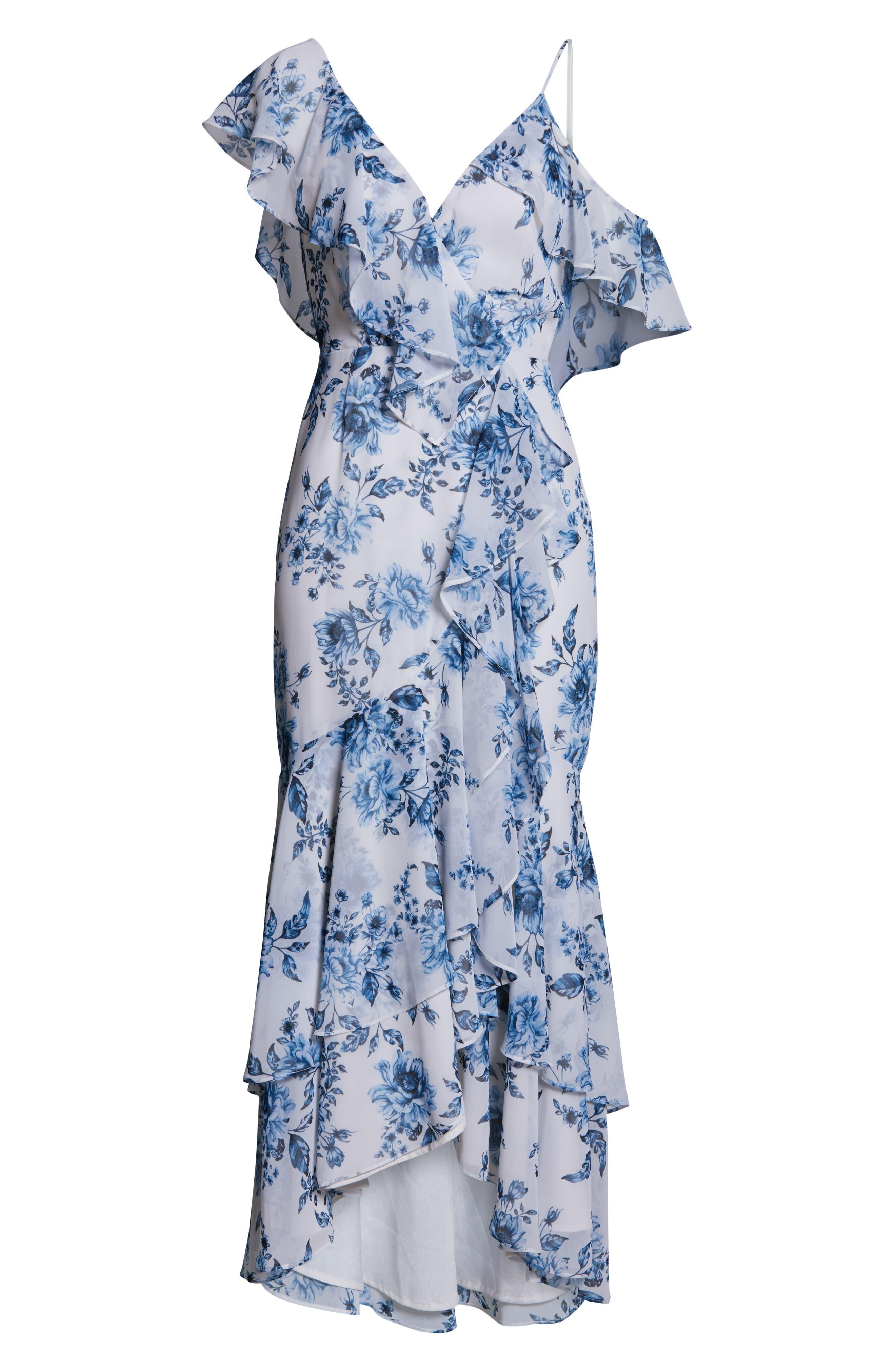 Elanor Ruffle Faux Wrap Maxi Dress,                             Alternate thumbnail 7, color,                             BLUE TOILE FLORAL