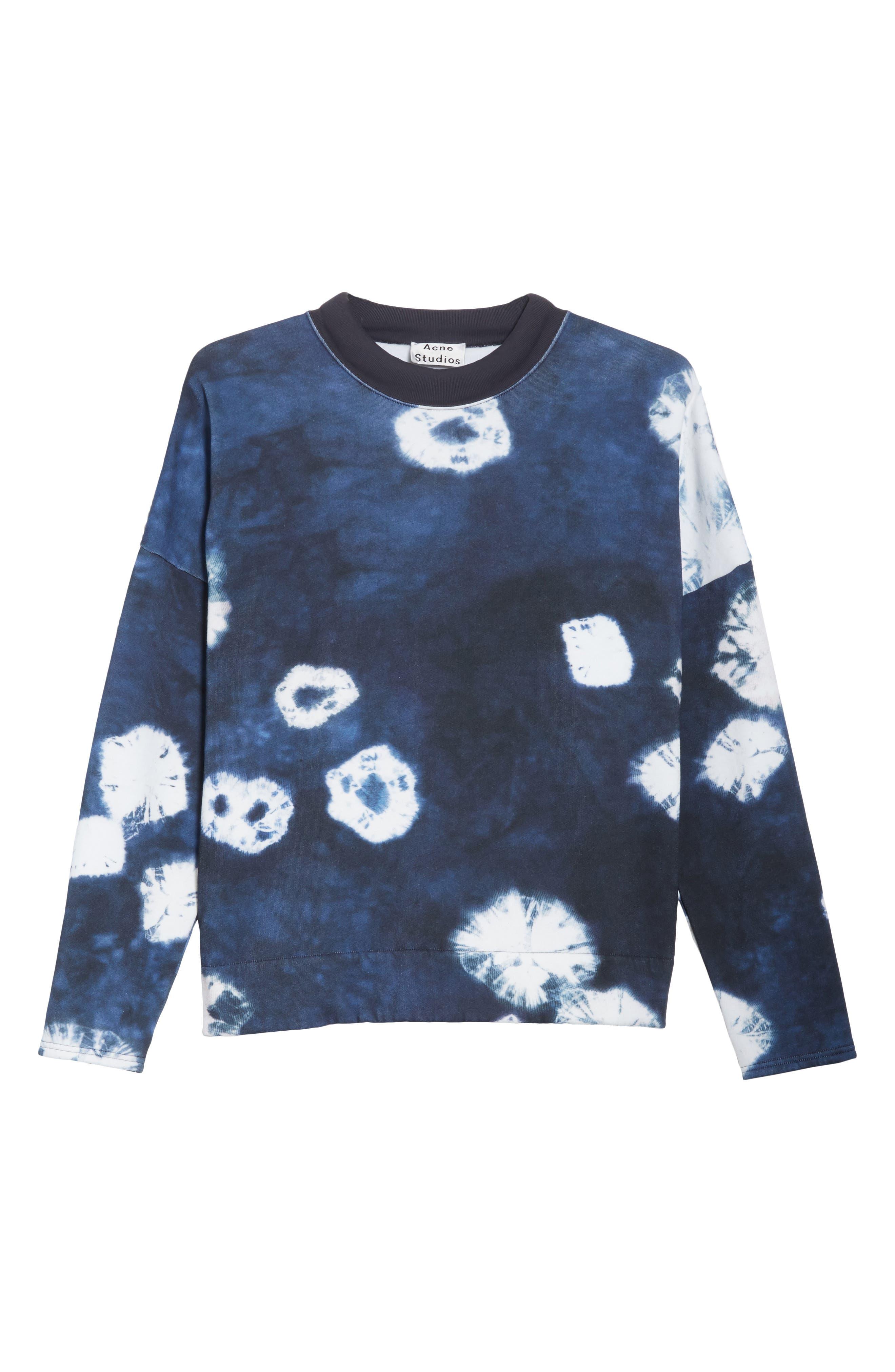 Fellke Bleach Indigo Sweatshirt,                             Alternate thumbnail 6, color,                             410