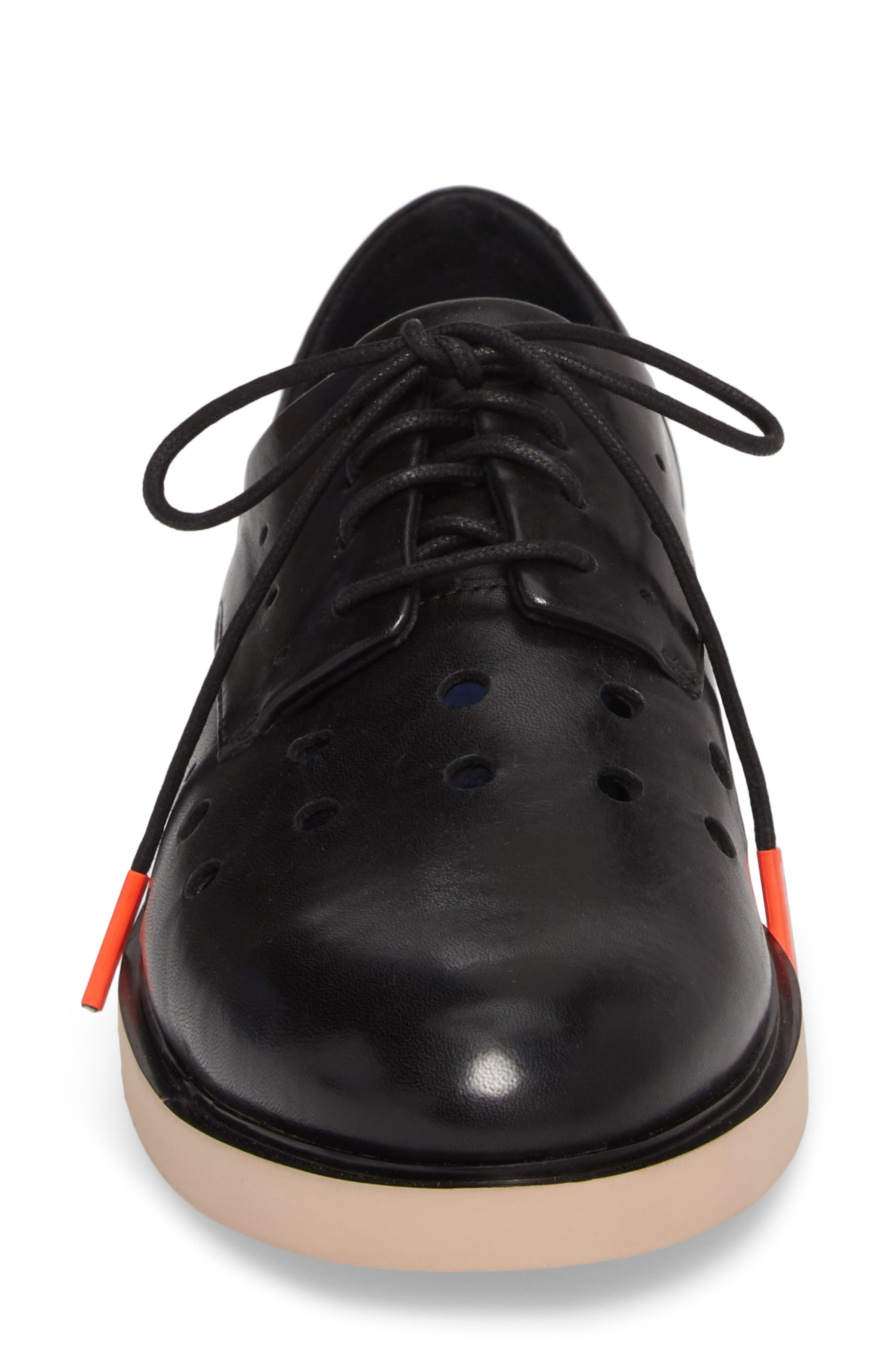TWS Perforated Derby,                             Alternate thumbnail 4, color,                             BLACK LEATHER